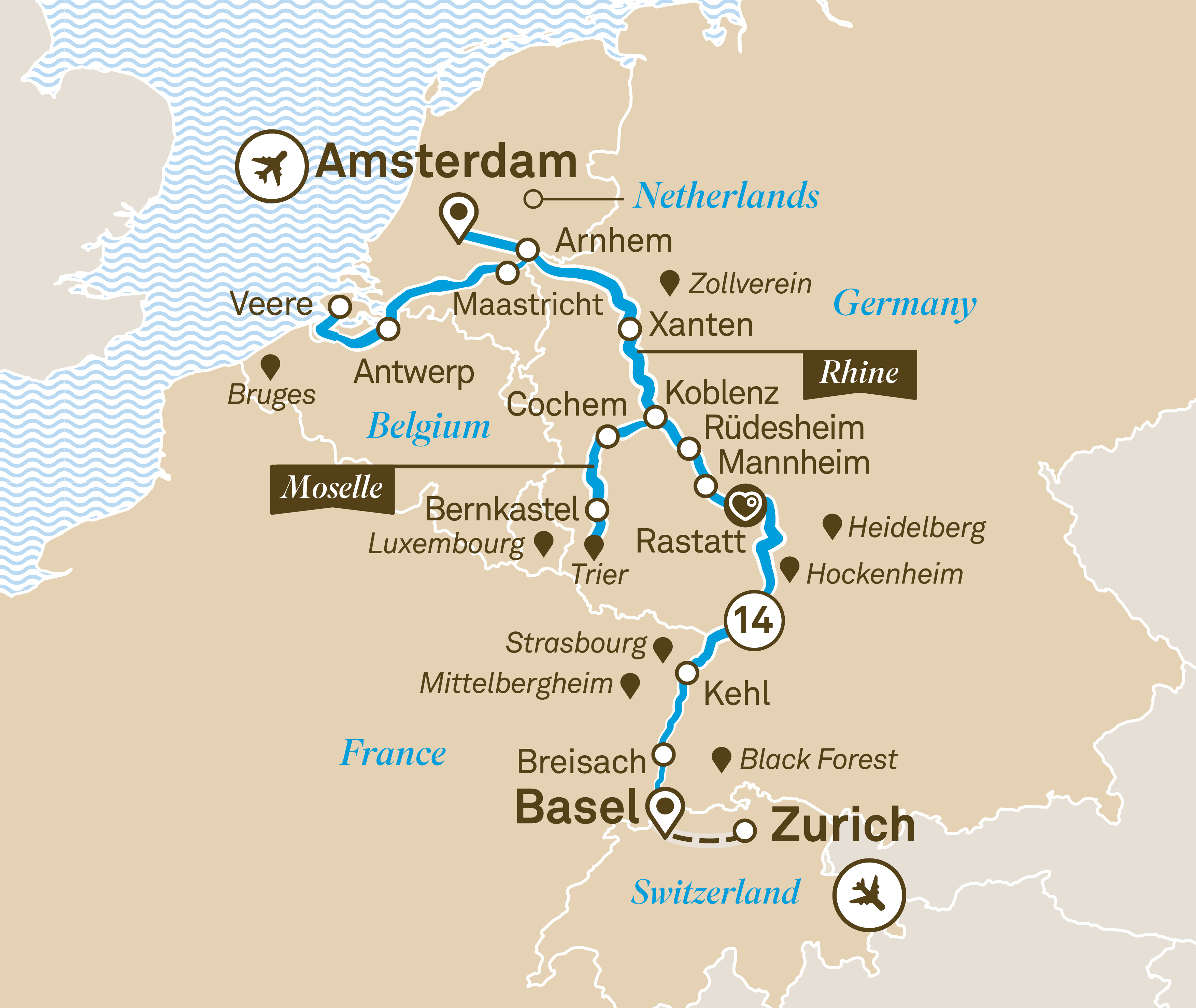 Itinerary map of Romantic Rhine & Moselle
