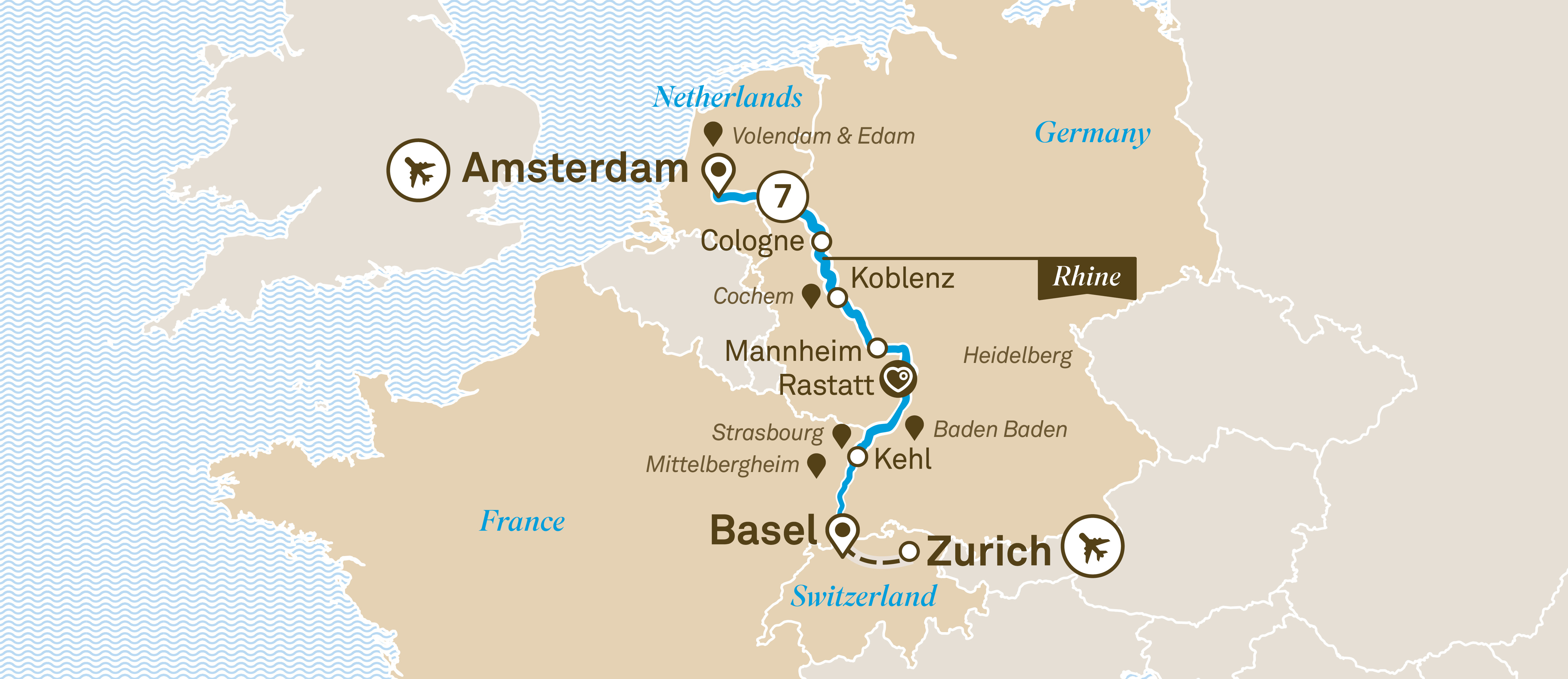 Itinerary map of Rhine Christmas Markets