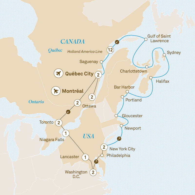 Map Of New England And Quebec.Autumnal Colours Of The East Canada New England Cruise
