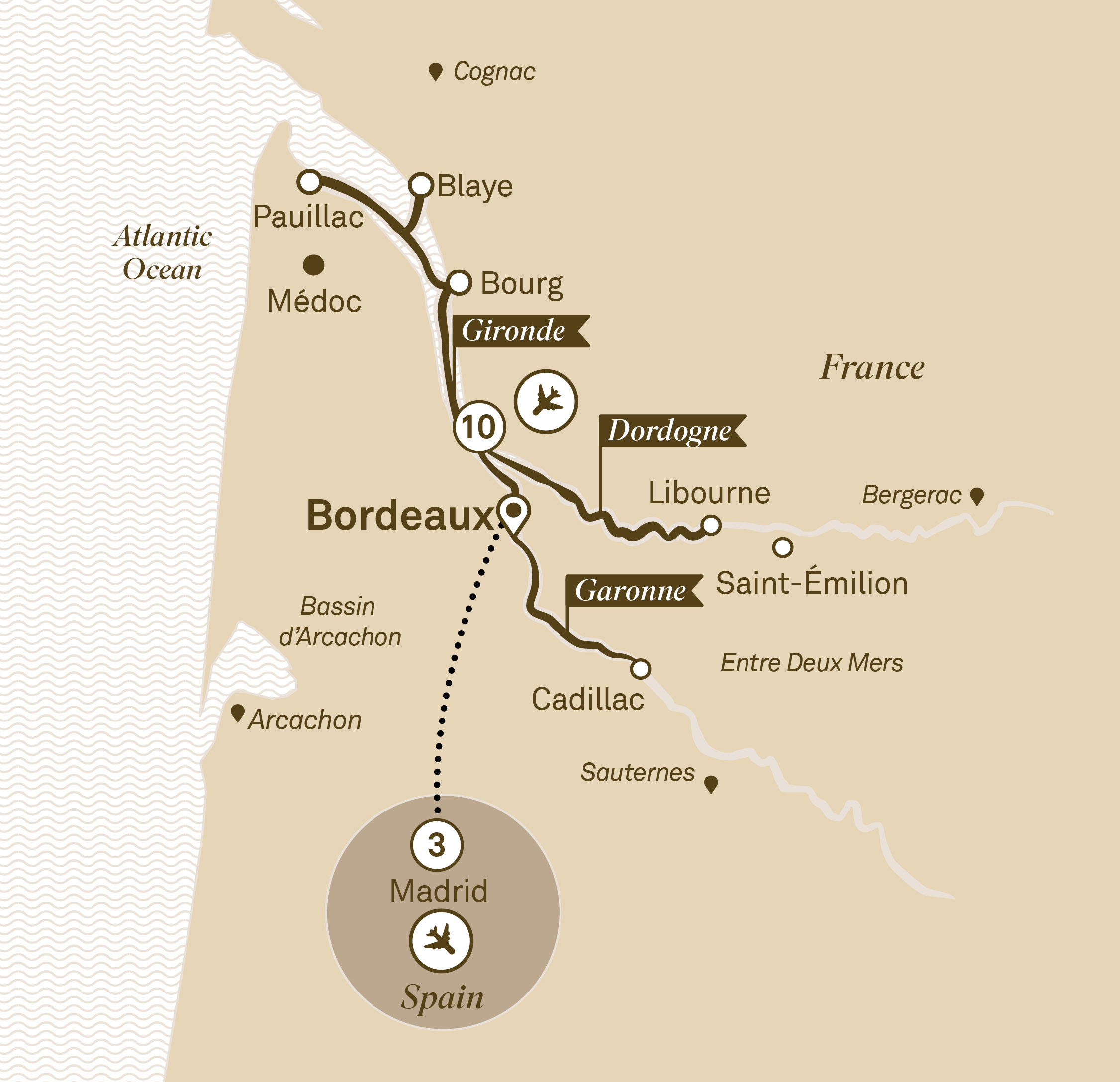 Map for route beautiful-bordeaux-with-madrid