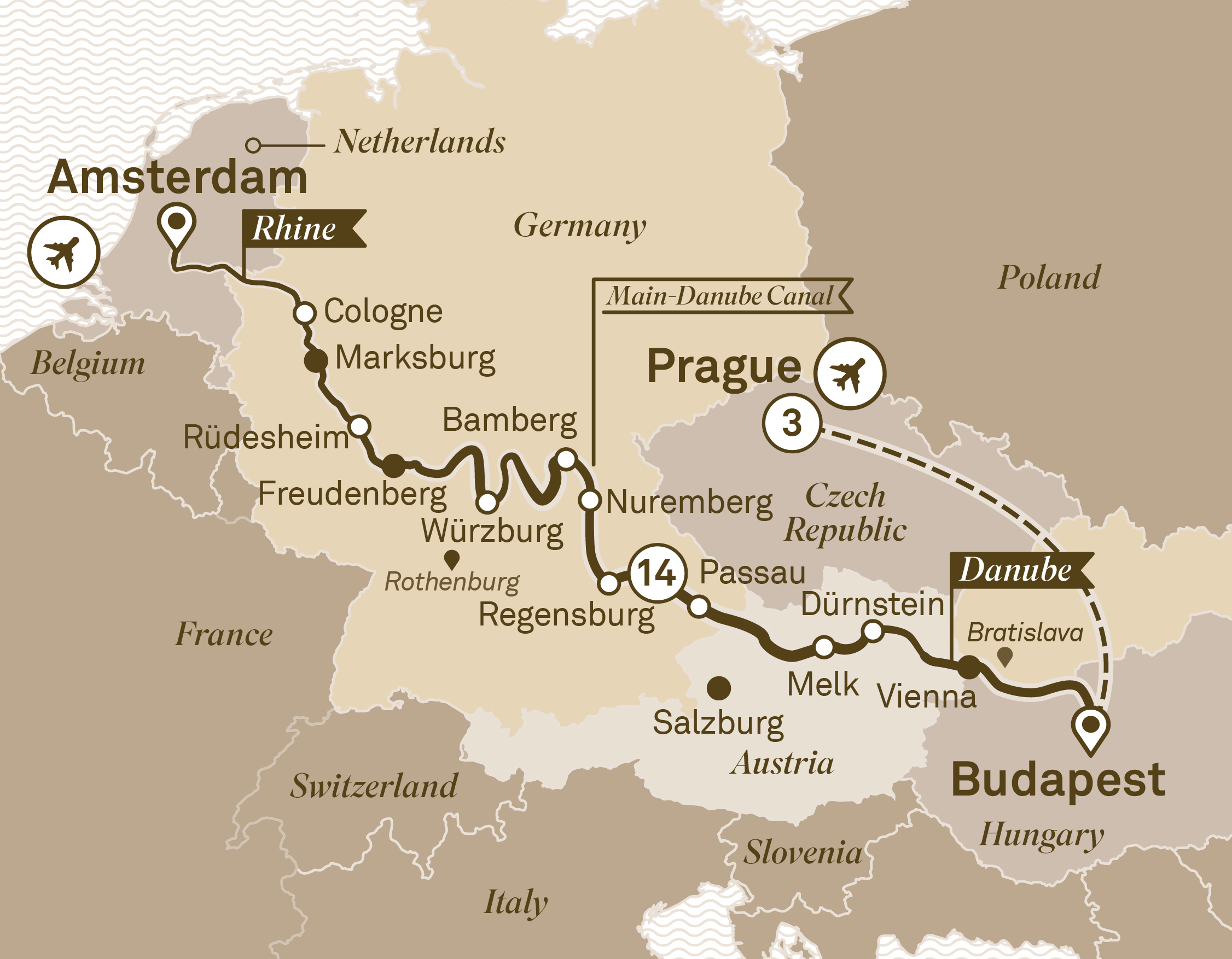 Map for route jewels-of-europe-with-prague