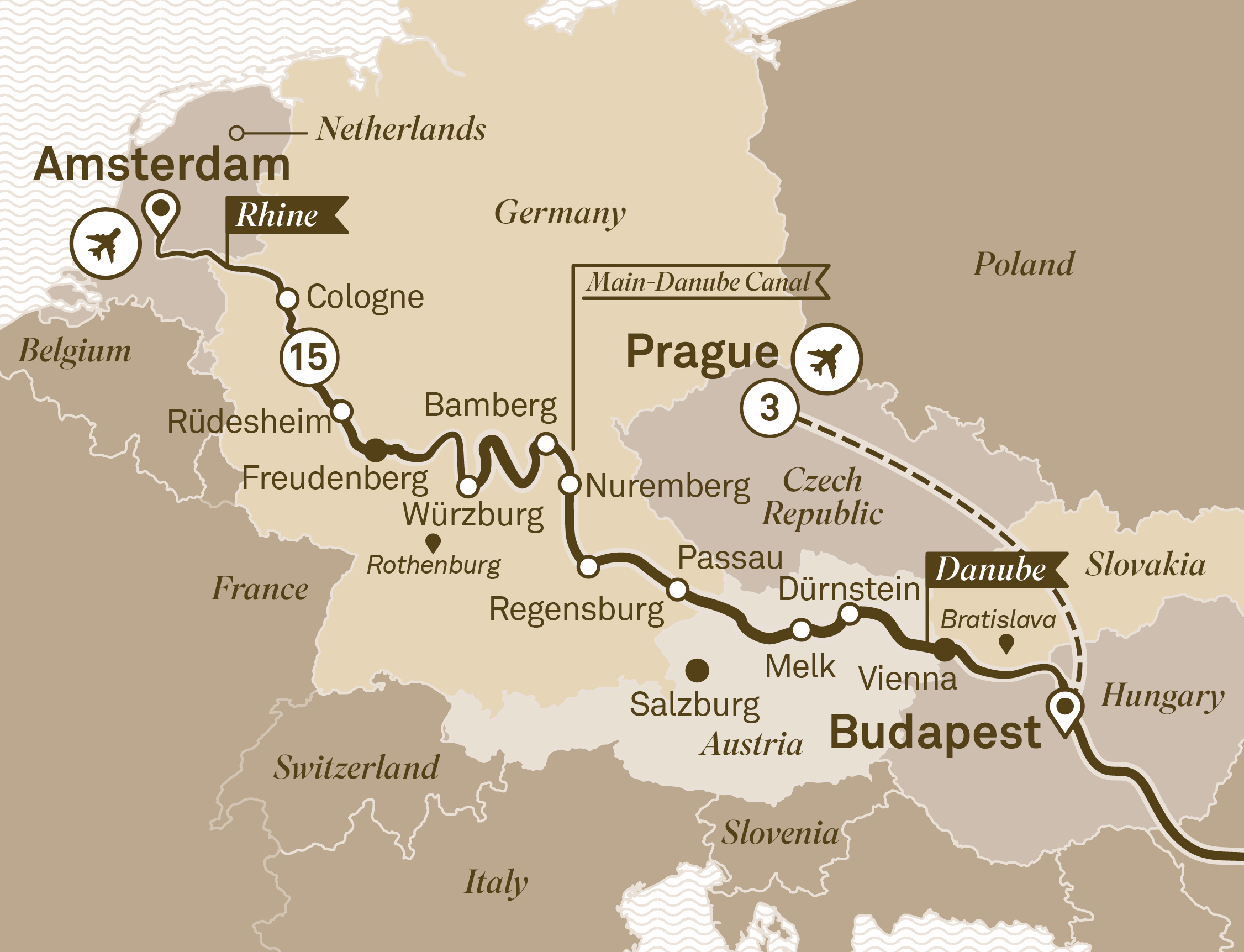 Map for route christmas-wonderland-with-prague