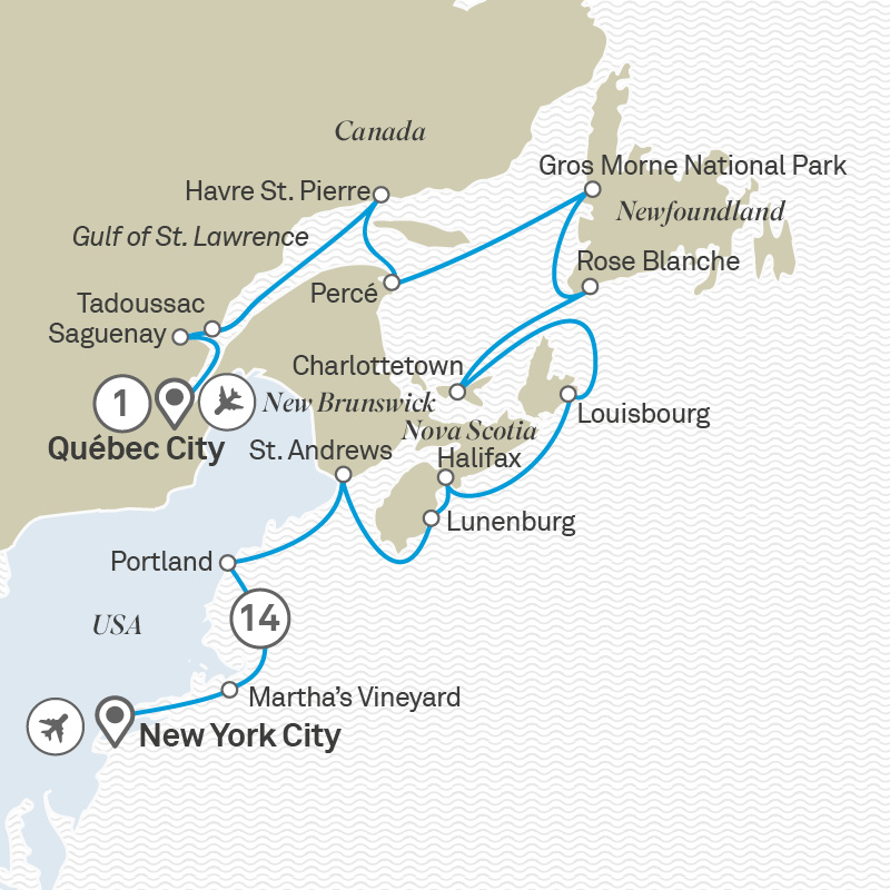 Map Of New York And Quebec.Atlantic Canada Usa