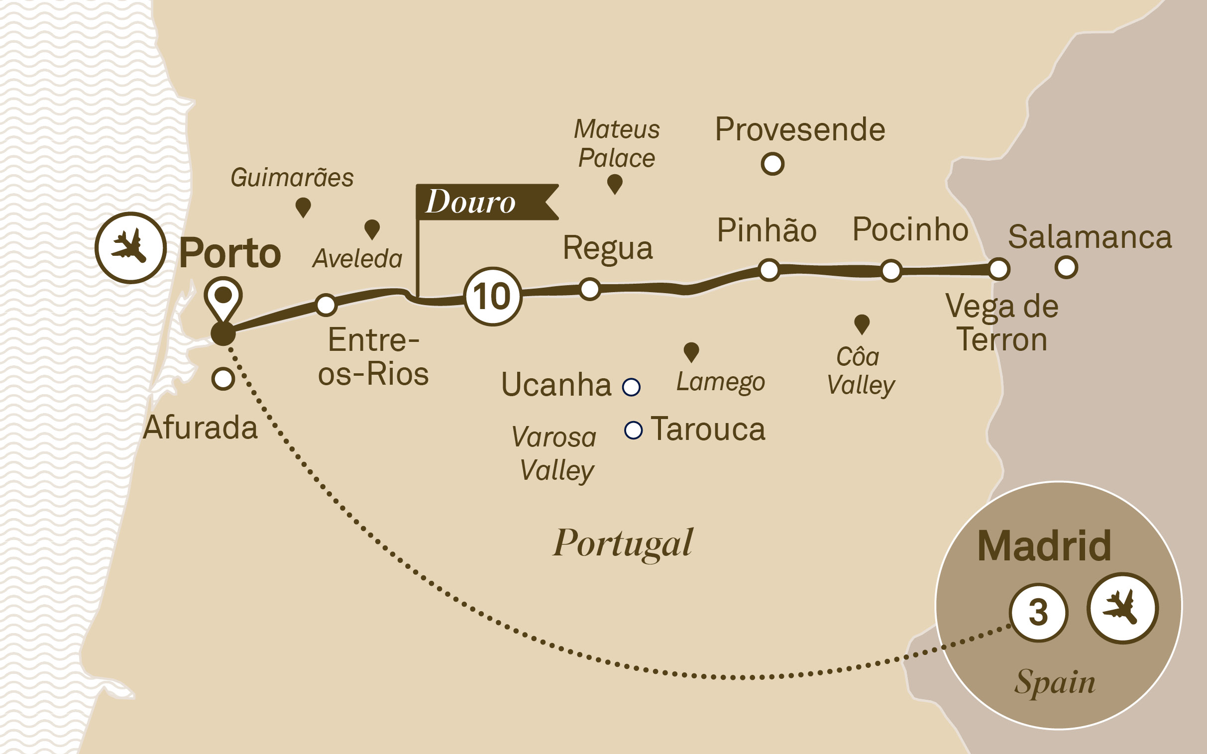 Map for route unforgettable-douro-with-madrid