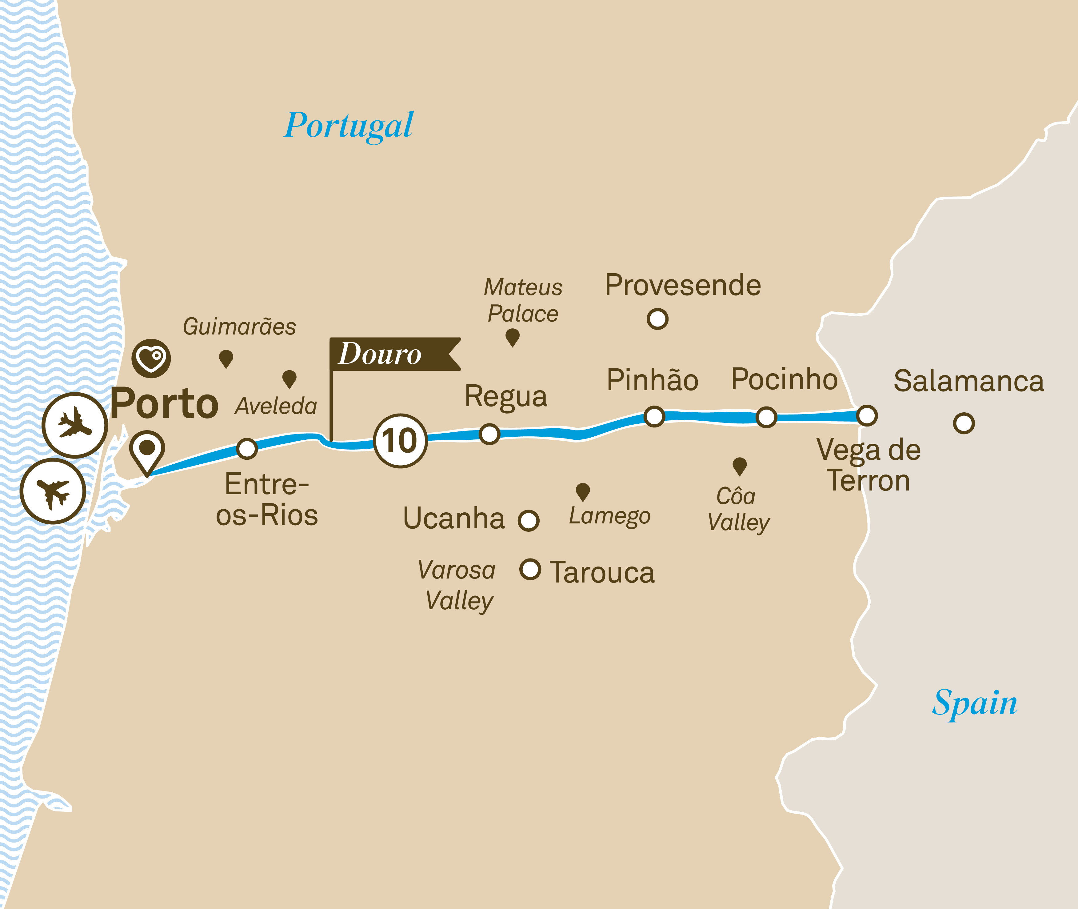 Itinerary map of Unforgettable Douro