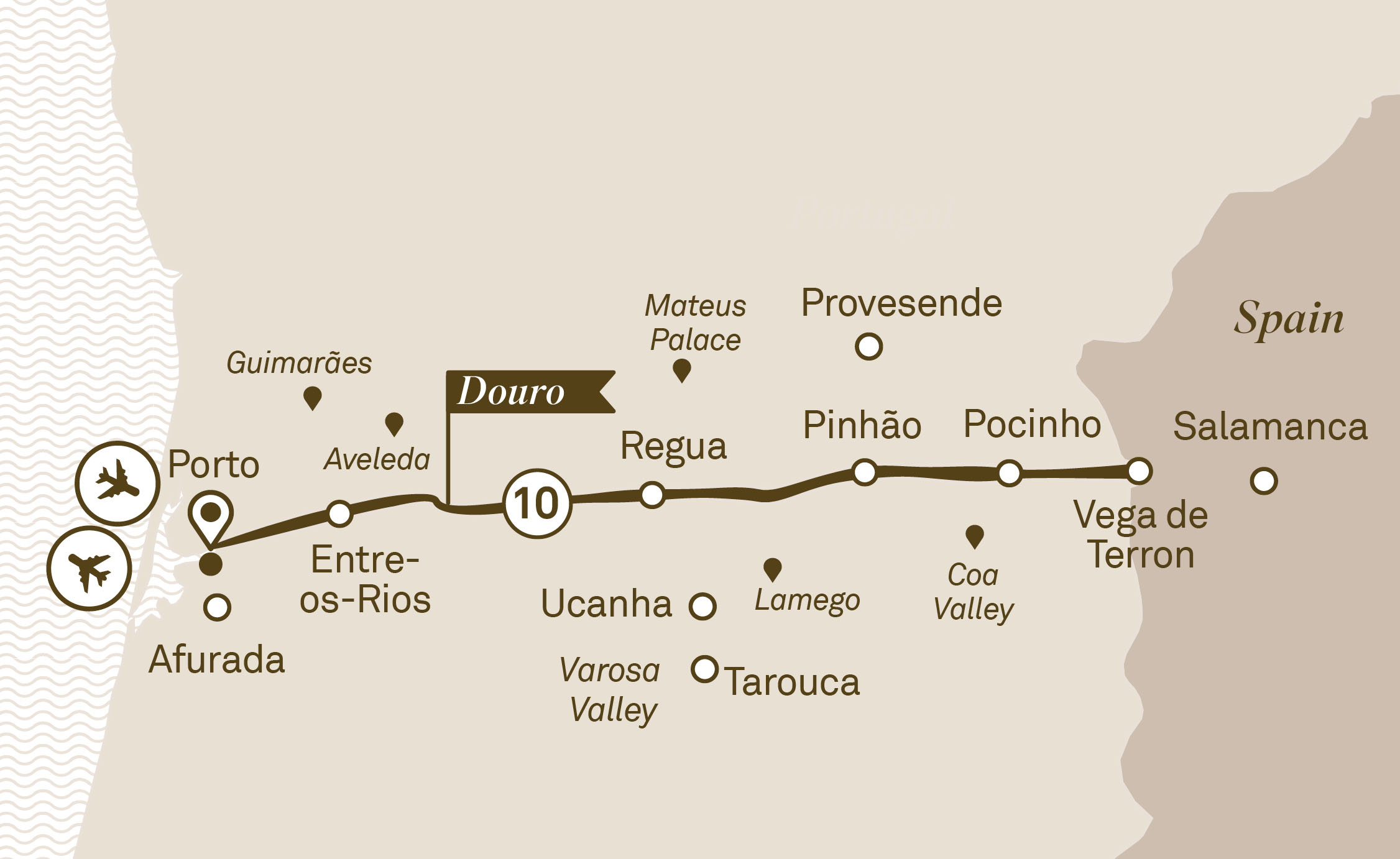 Map for route unforgettable-douro