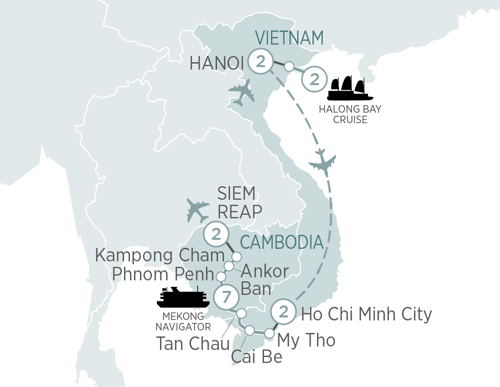 Itinerary map of Highlights of Vietnam & Cambodia and Mekong Cruise