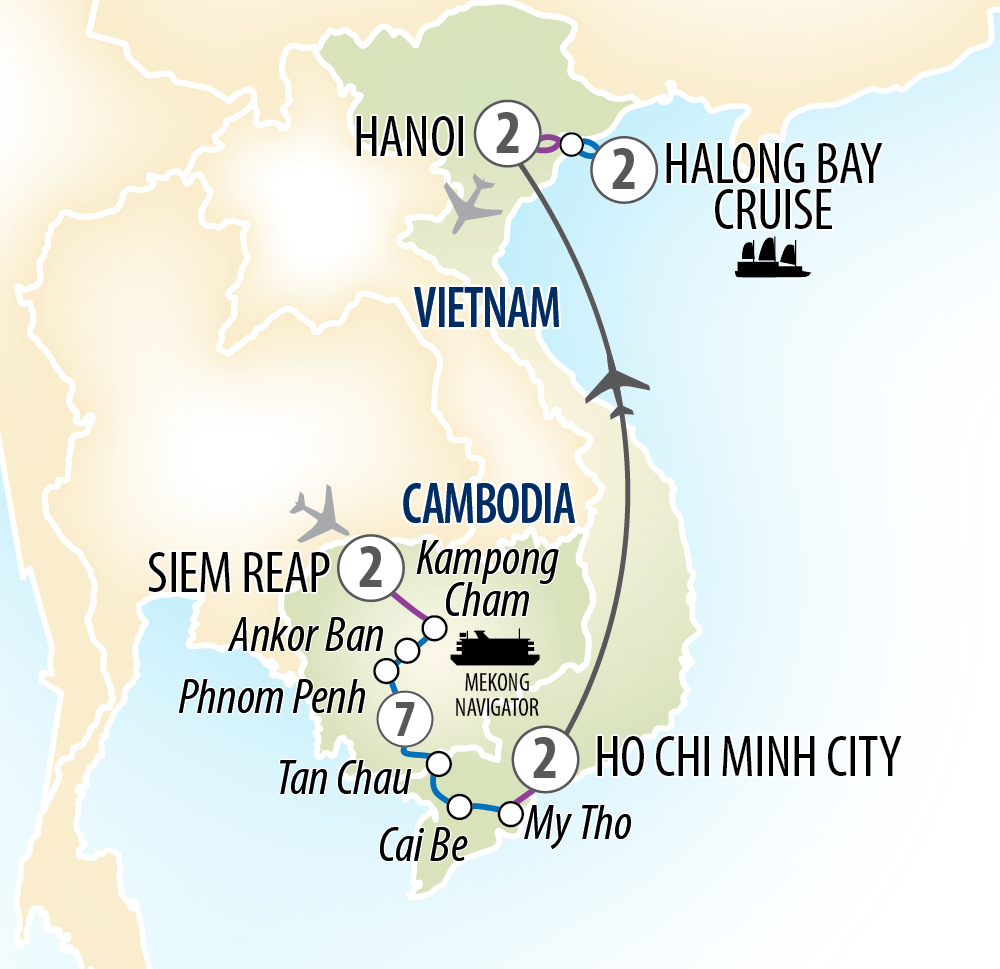 Itinerary map of Highlights of Vietnam & Cambodia and Mekong