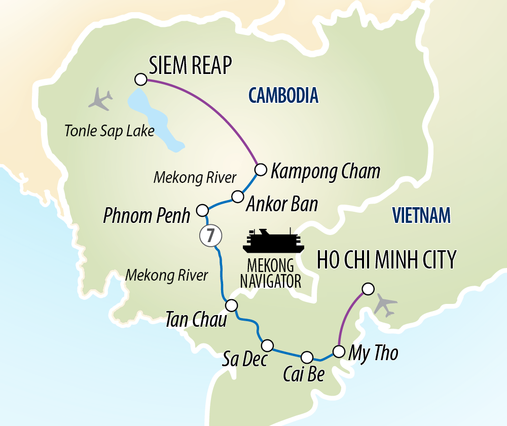 Itinerary map of Magnificent Mekong Cruise