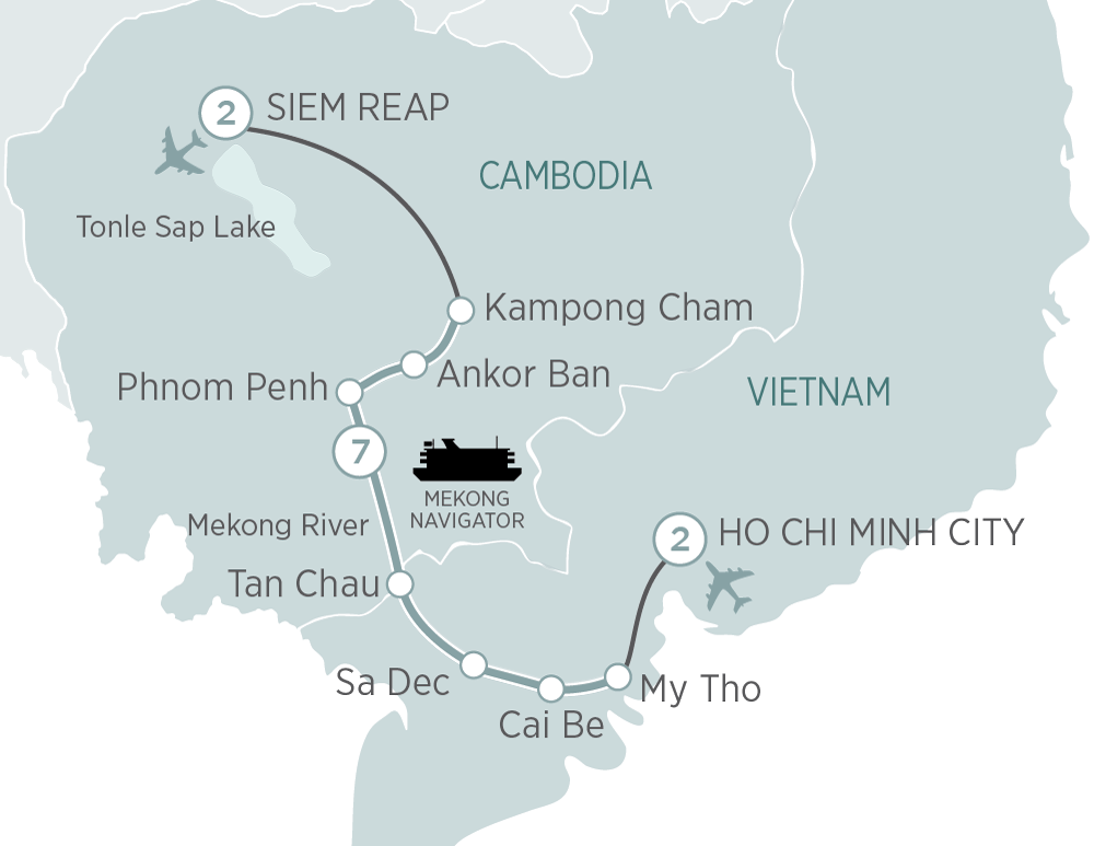 Itinerary map of Mekong Discoverer Cruise