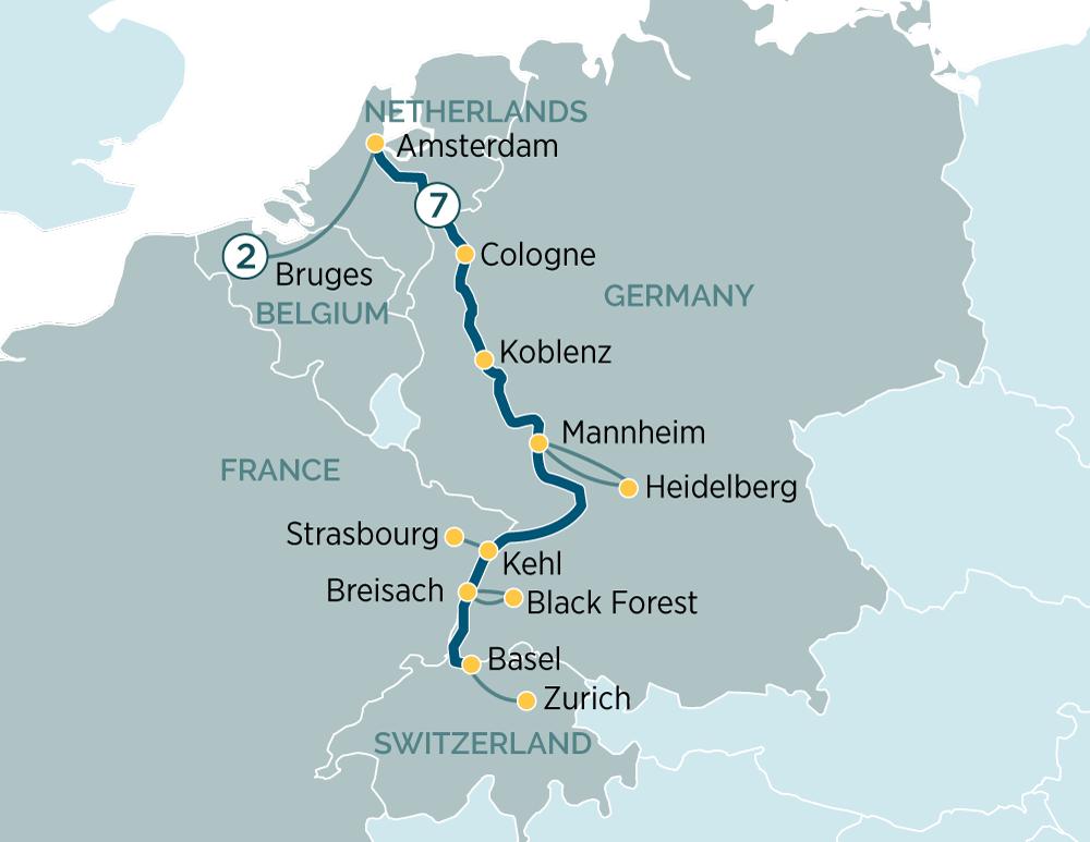 Bruges France Map.Jewels Of The Rhine Bruges Evergreen Australia