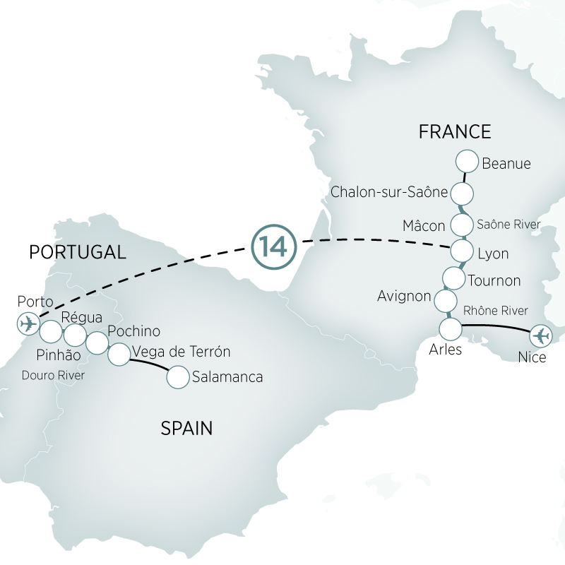 Itinerary map of Douro & Southern France River Cruises>