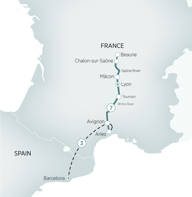Sensations of southern france barcelona river cruises europe view map gumiabroncs Images