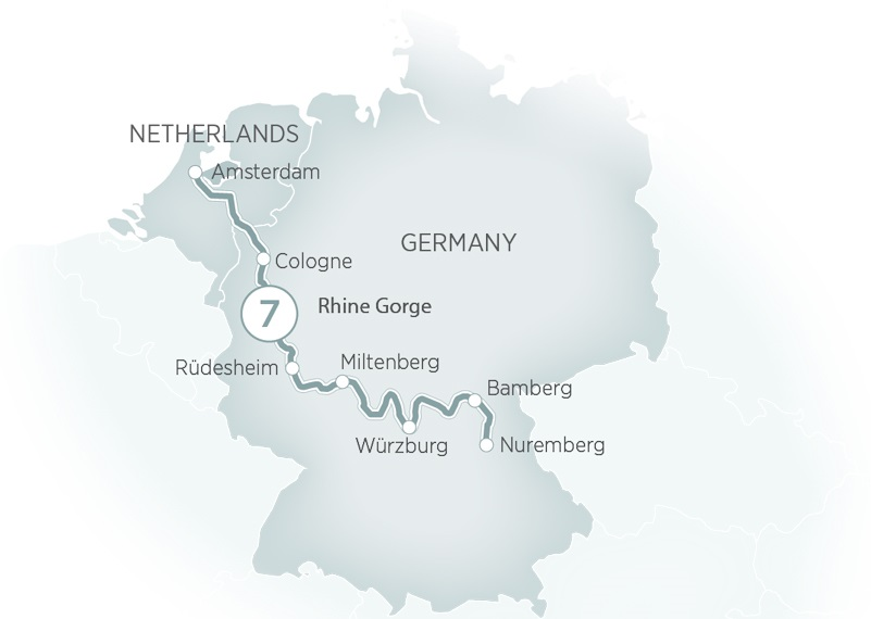 Itinerary map of Rhine - Main Discovery>