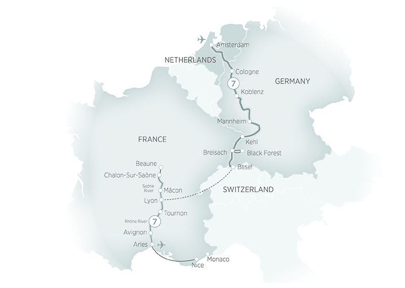 Itinerary map of Rhine & Rhone River Cruises>