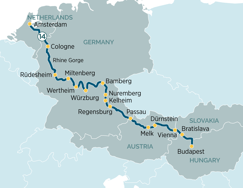 budapest to amsterdam river cruise map Splendours Of Europe Evergreen Australia budapest to amsterdam river cruise map