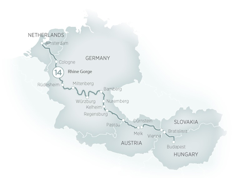Itinerary map of Splendours of Europe River Cruise