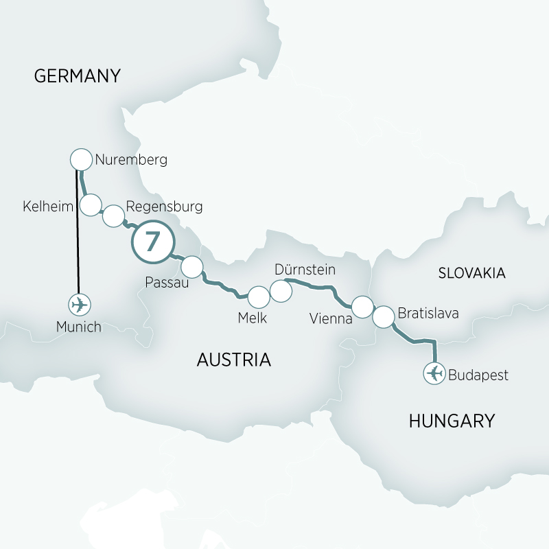 Itinerary map of Danube Delights