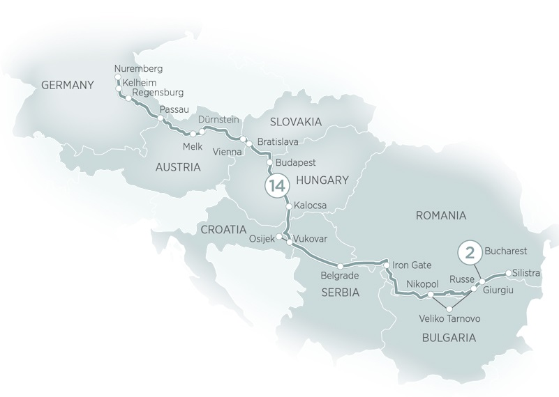 Itinerary map of Treasures of the Danube>