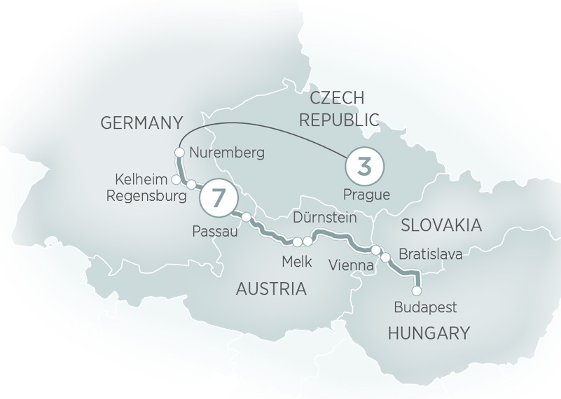 Itinerary map of Prague & Danube Delights