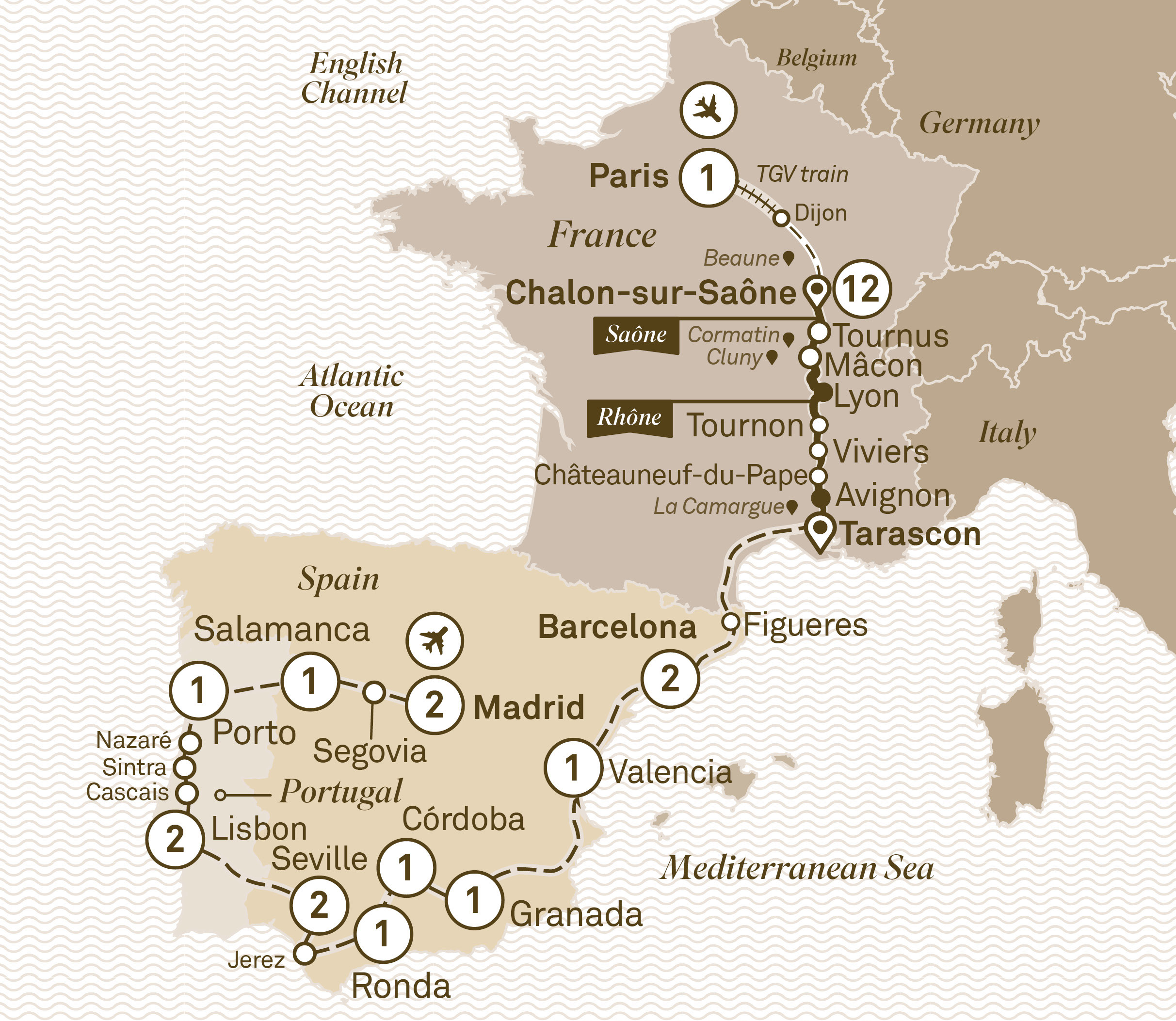 Map for route spectacular-south-of-france-with-iberian-splendours