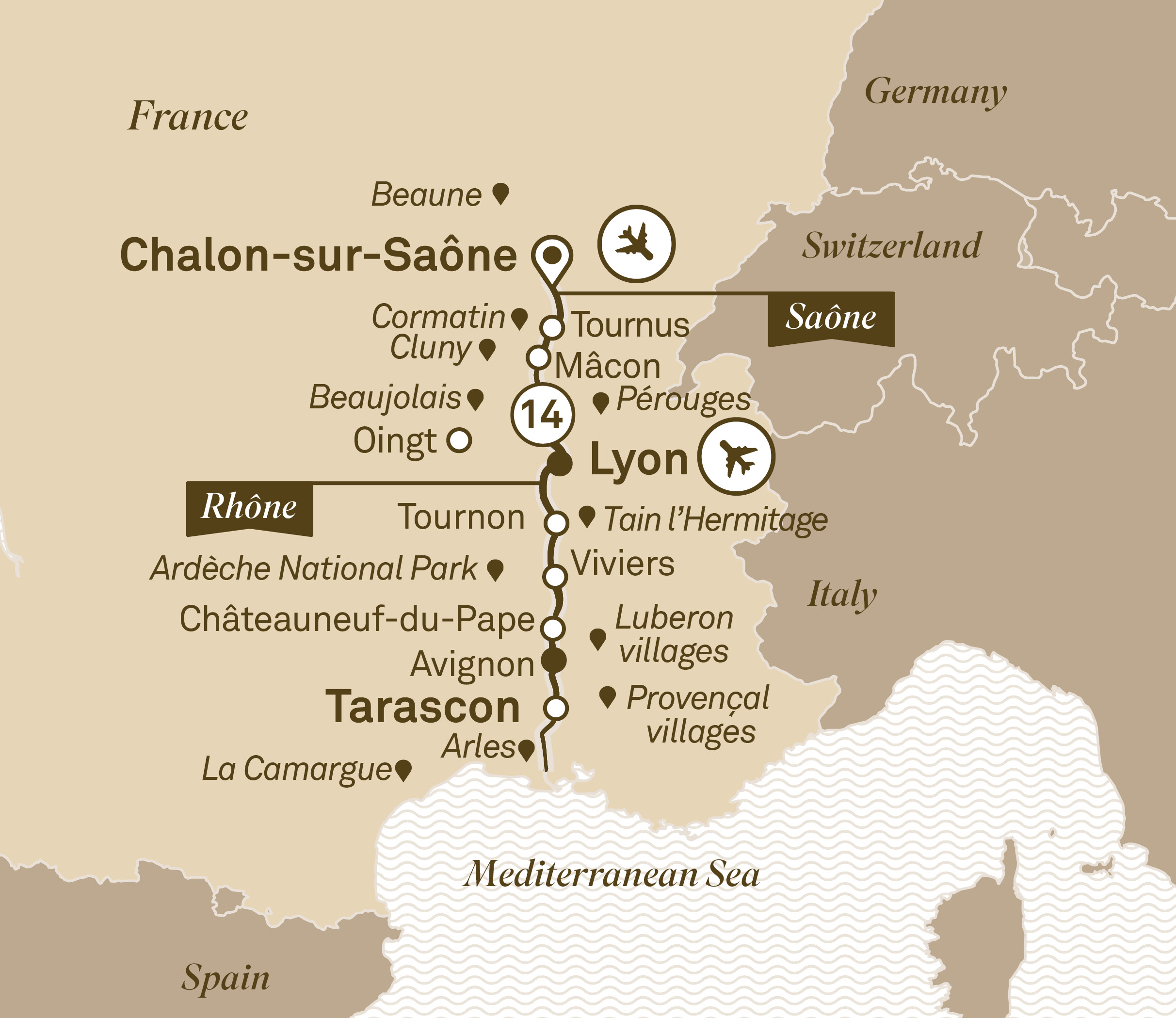 Cluny France Map.Itinerary Map South Of France Indulgence The Luxury Cruise Company