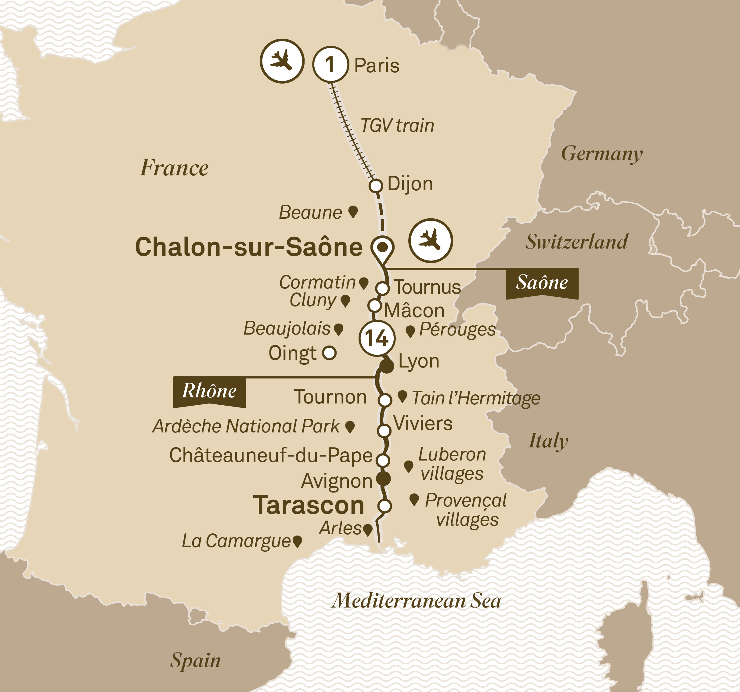 Itinerary map of South of France Indulgence