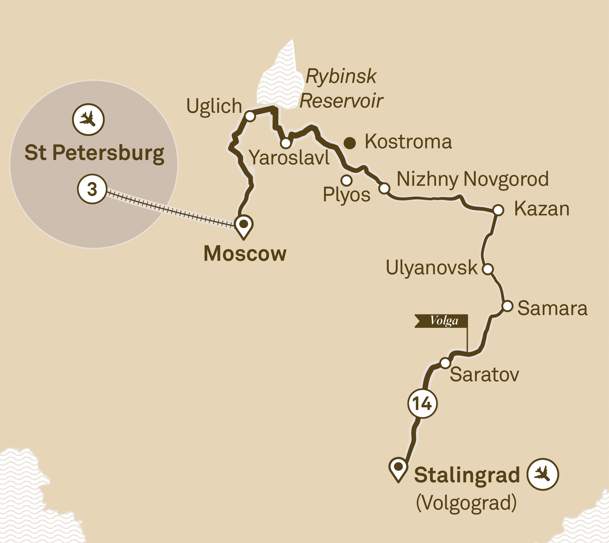 Itinerary map of Imperial Russia with St