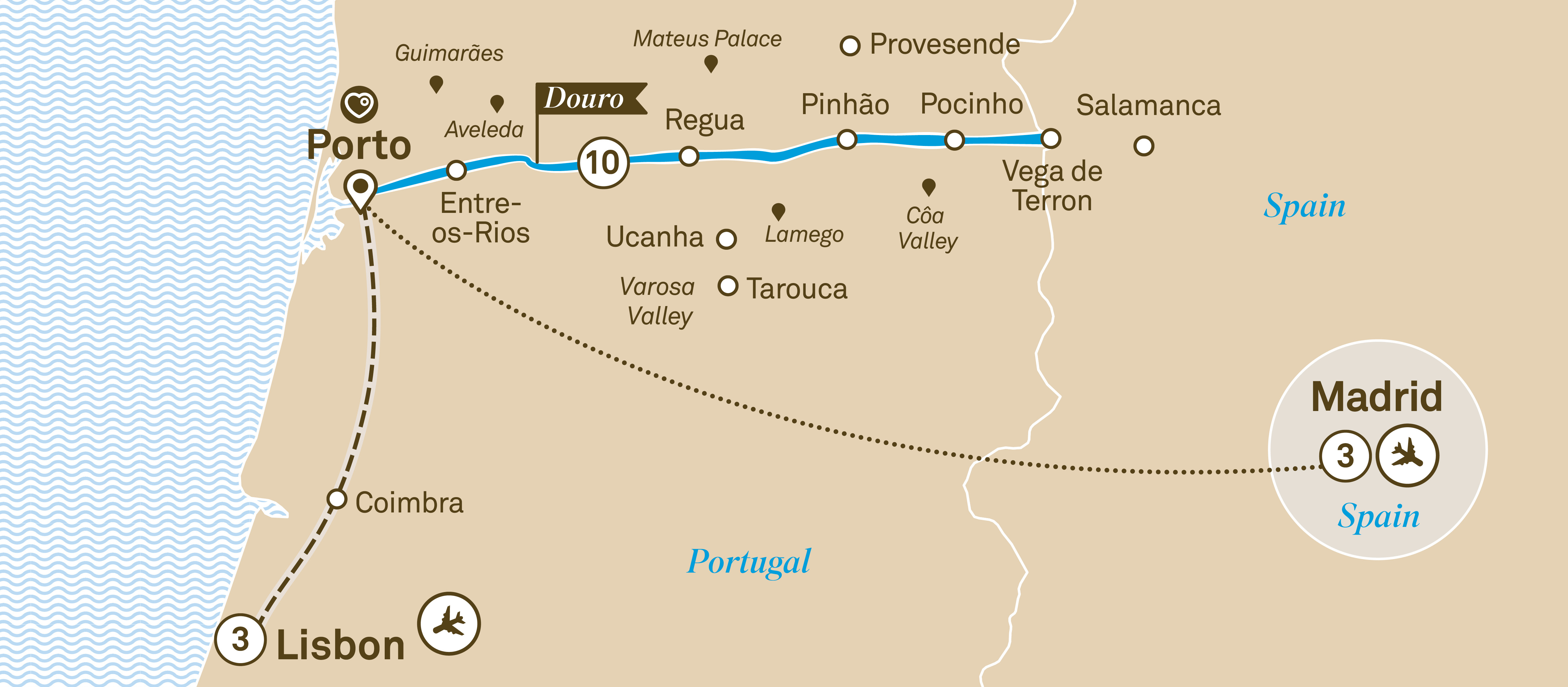 Map for route unforgettable-douro-with-lisbon-madrid