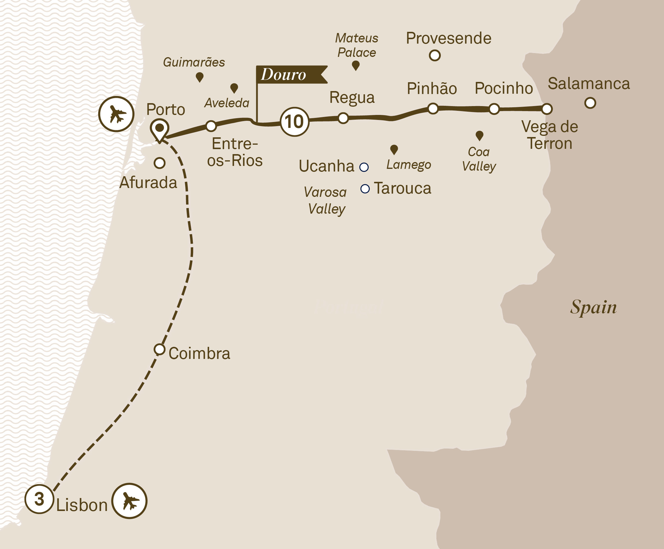 Map for route unforgettable-douro-with-lisbon