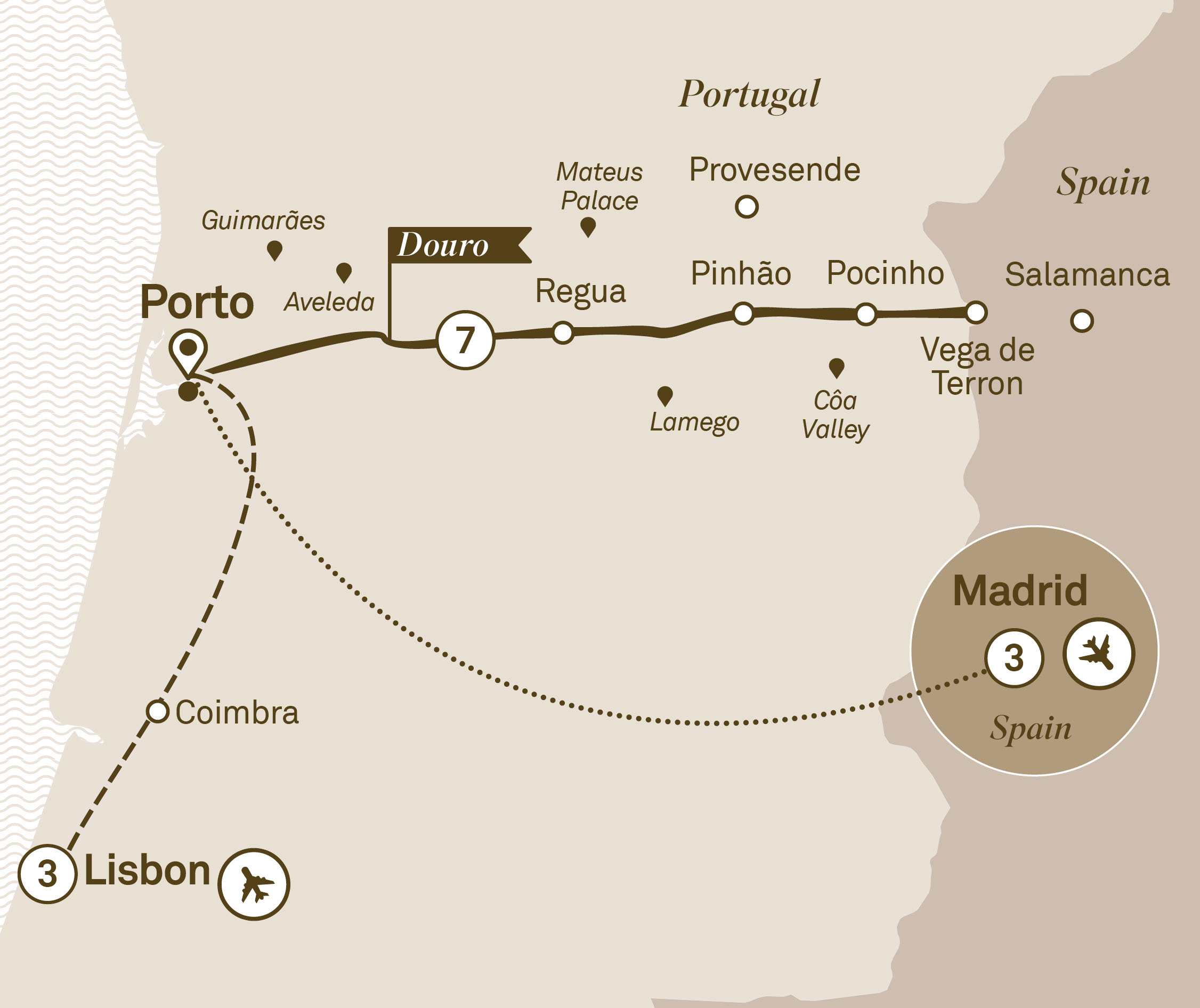 Map for route delightful-douro-with-lisbon-and-madrid