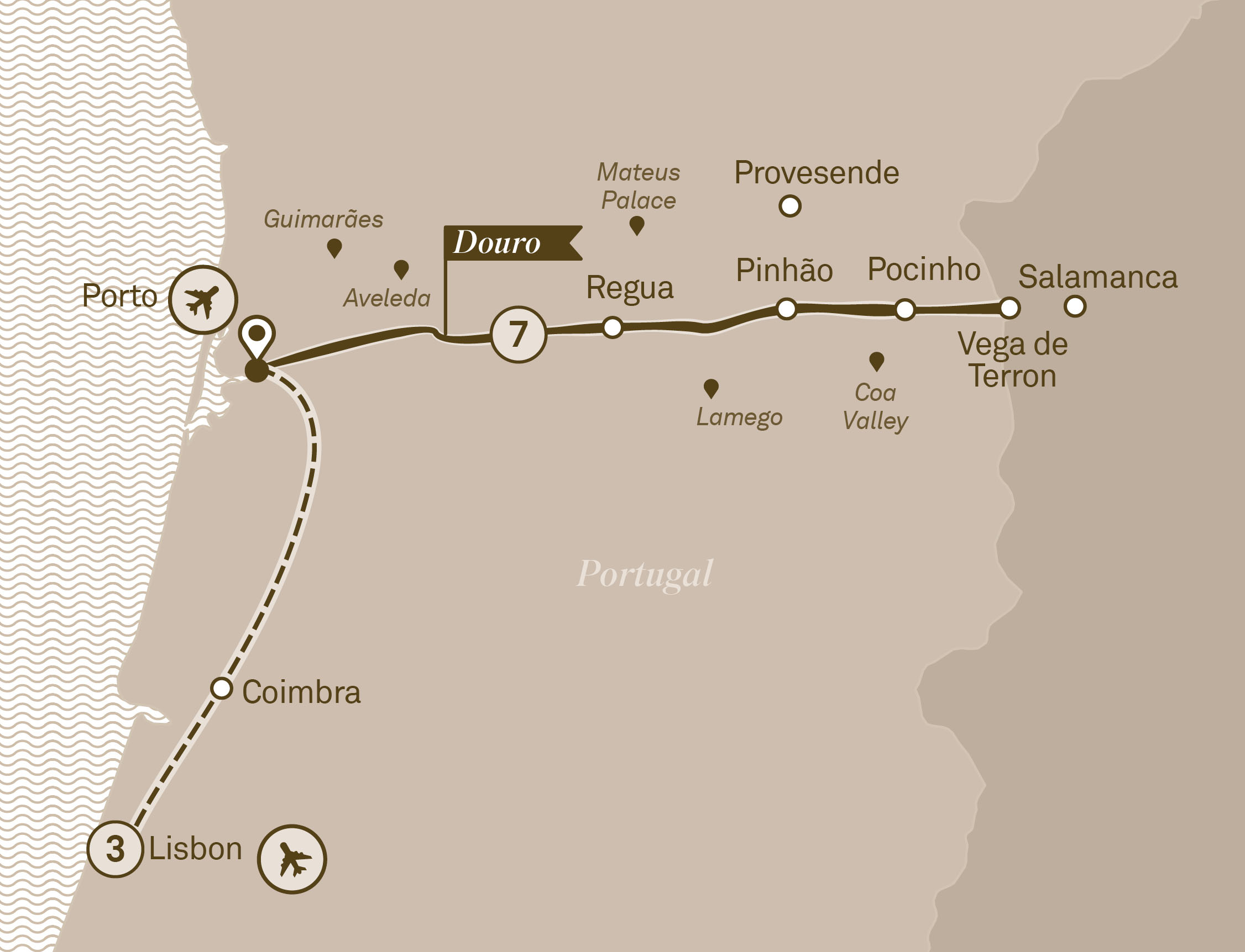 Map for route delightful-douro-with-lisbon