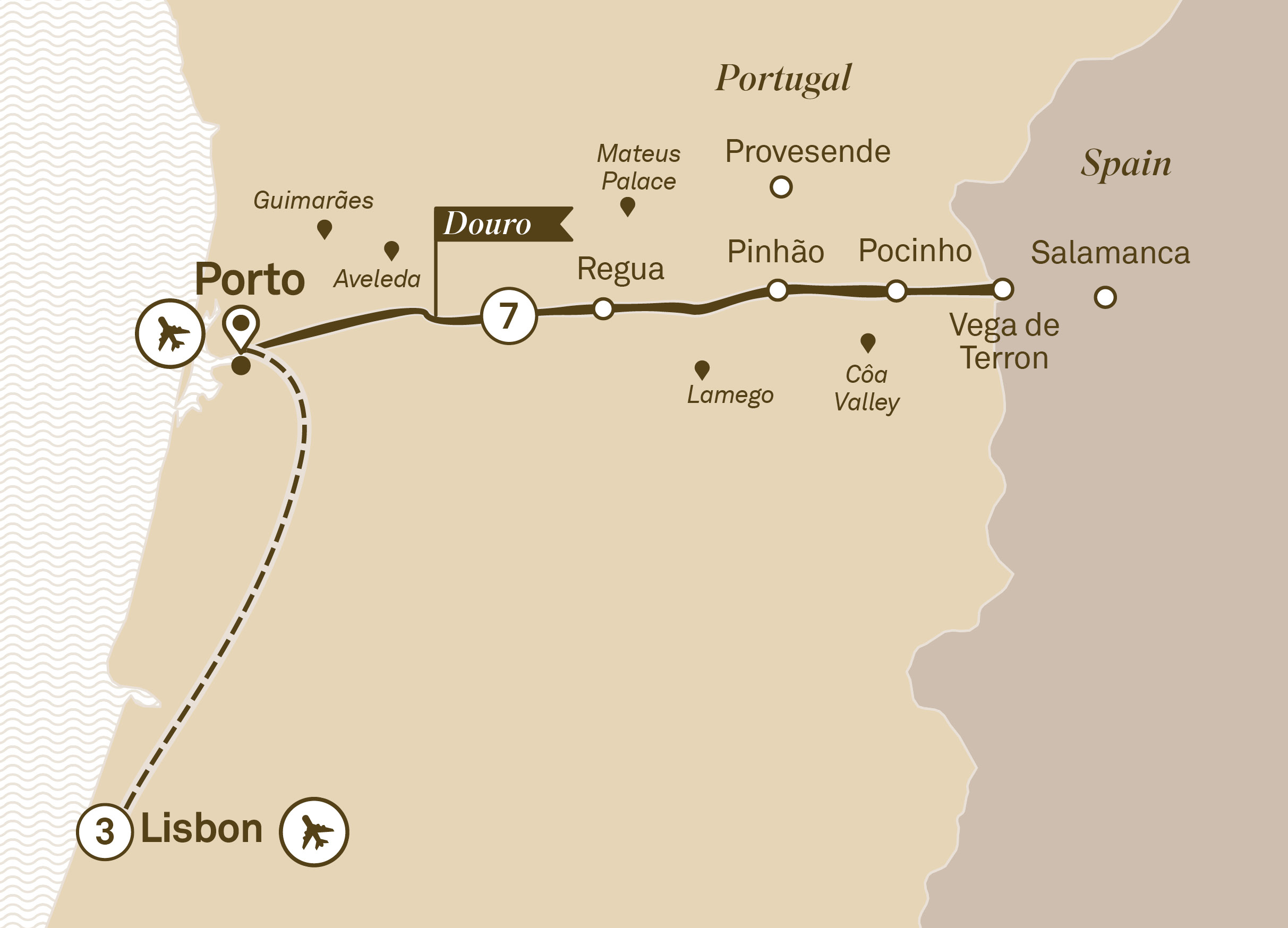 Itinerary map of Delightful Douro with Lisbon