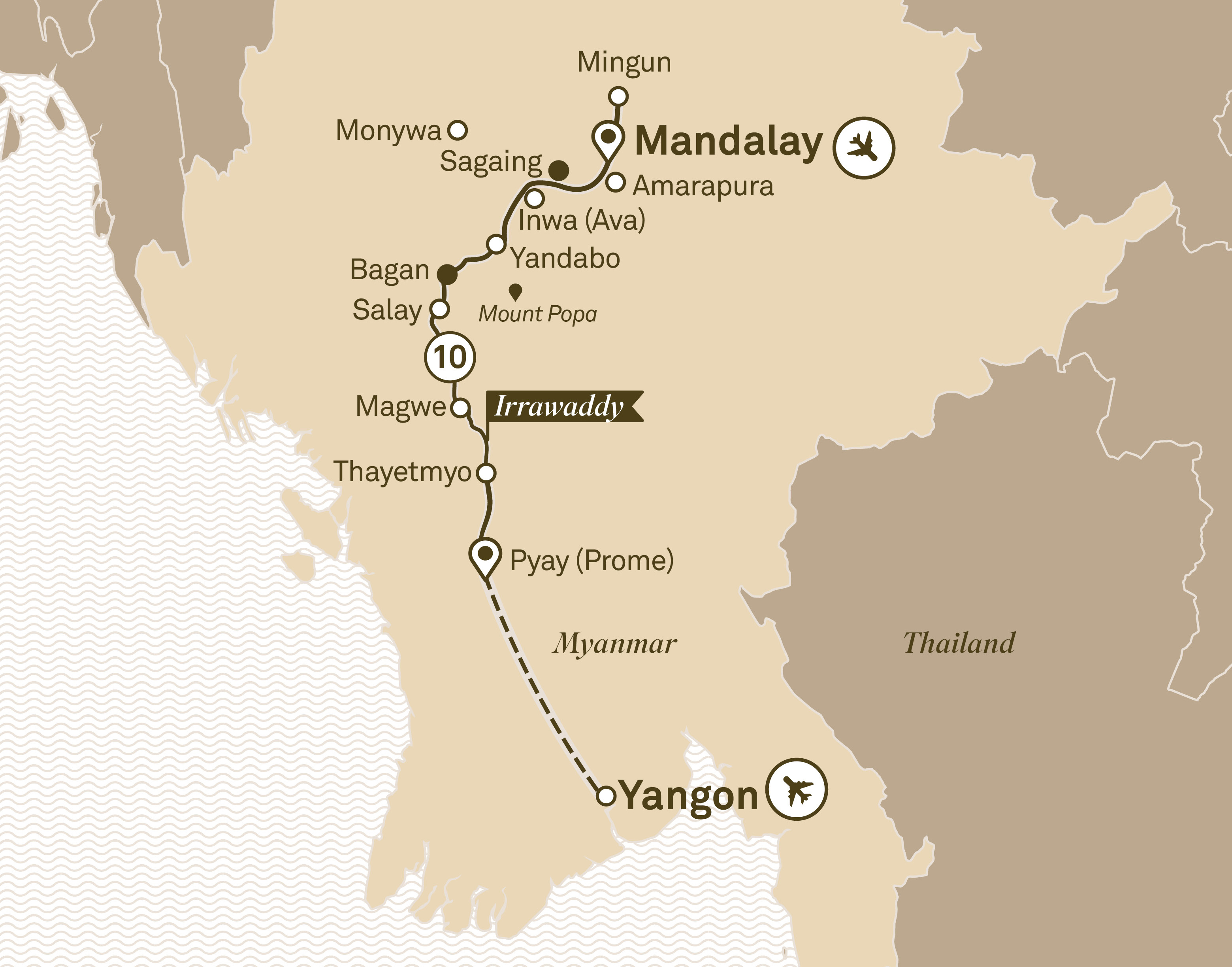 Itinerary map of Luxury Irrawaddy