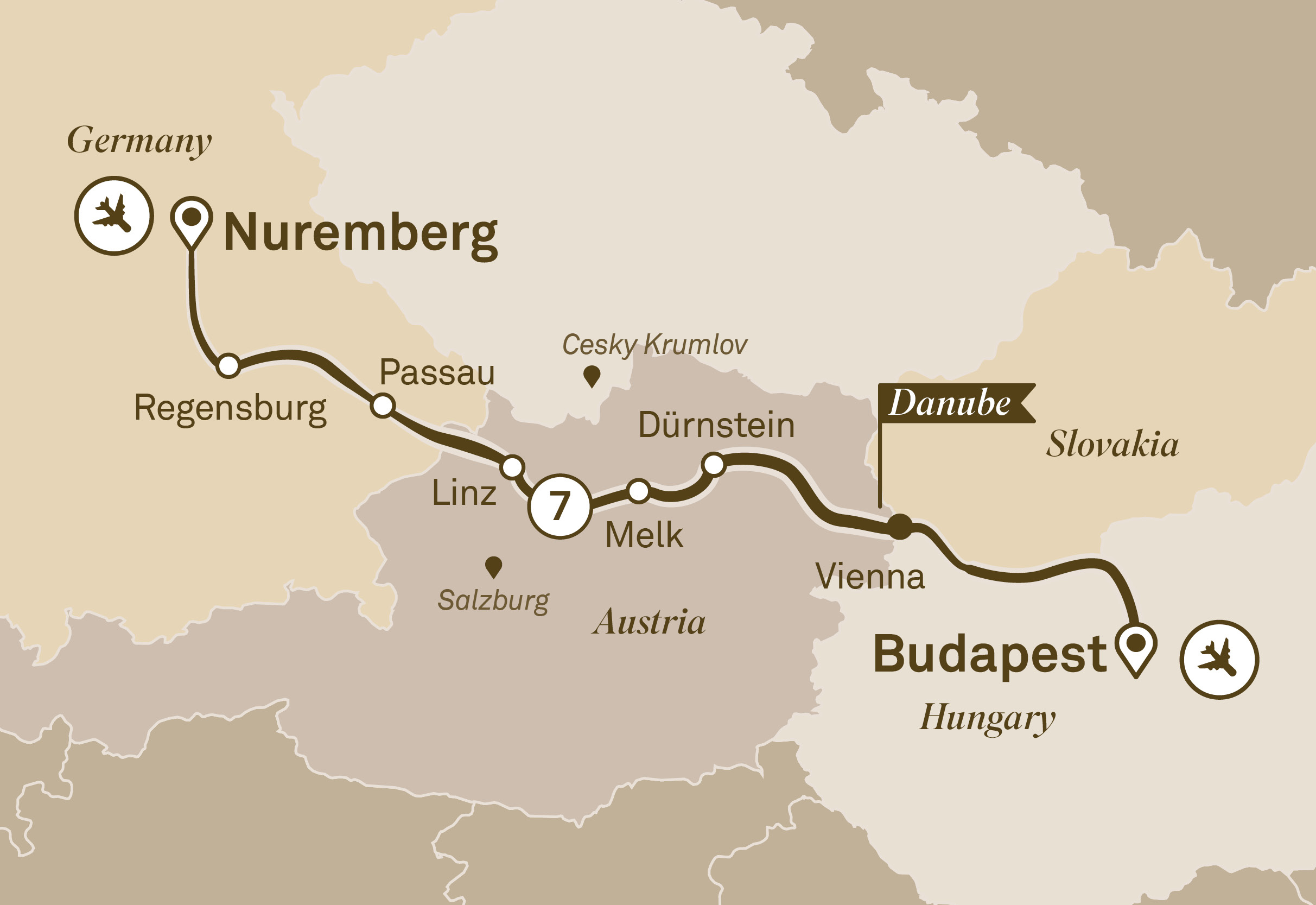Itinerary map of Gems of the Danube