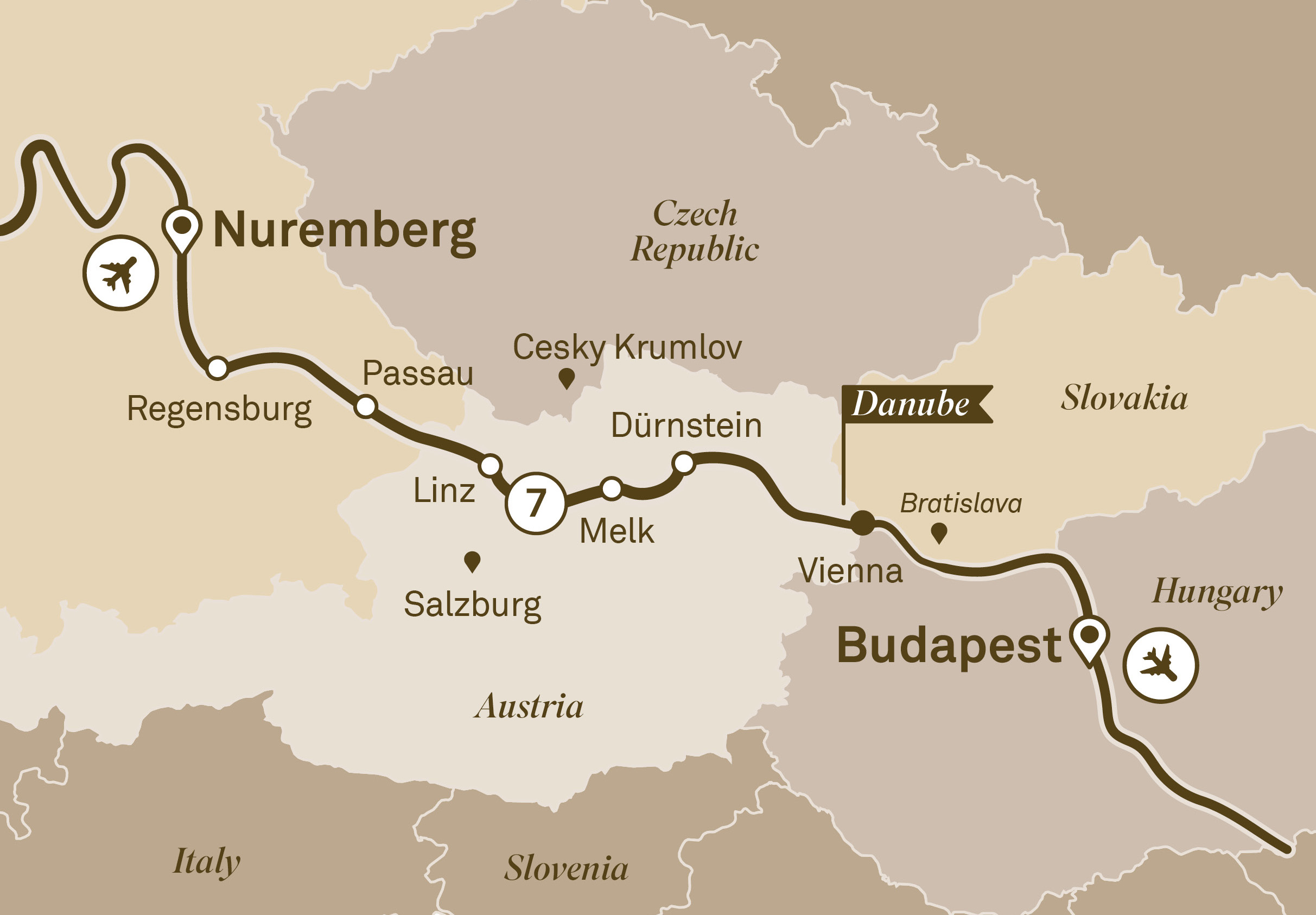 Map for route gems-of-the-danube
