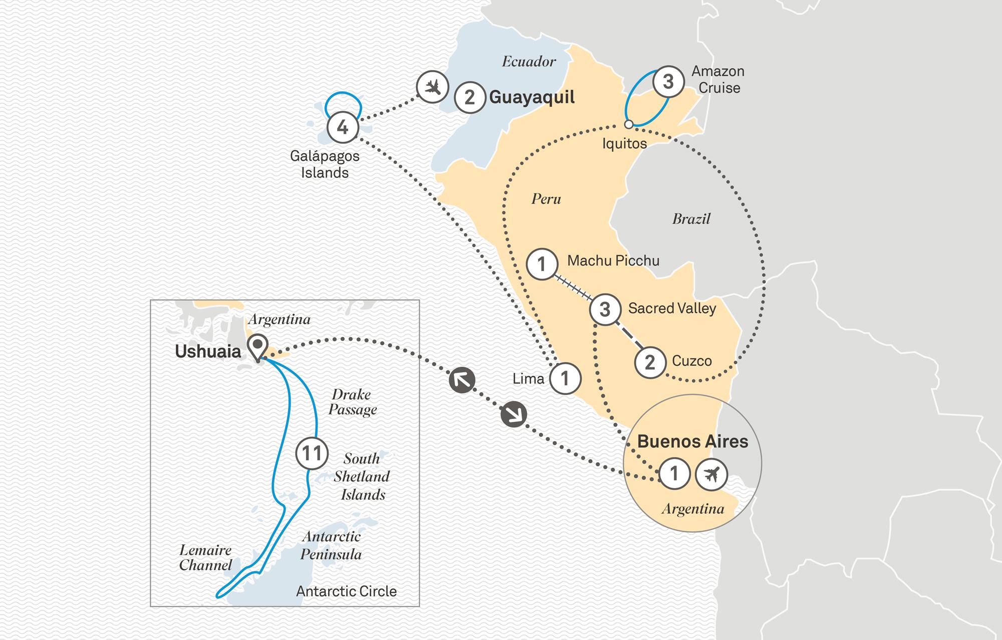 Antarctica with Galápagos, Amazon cruising & Peru