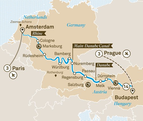 Budapest On Europe Map.Jewels Of Europe With Paris Prague Scenic