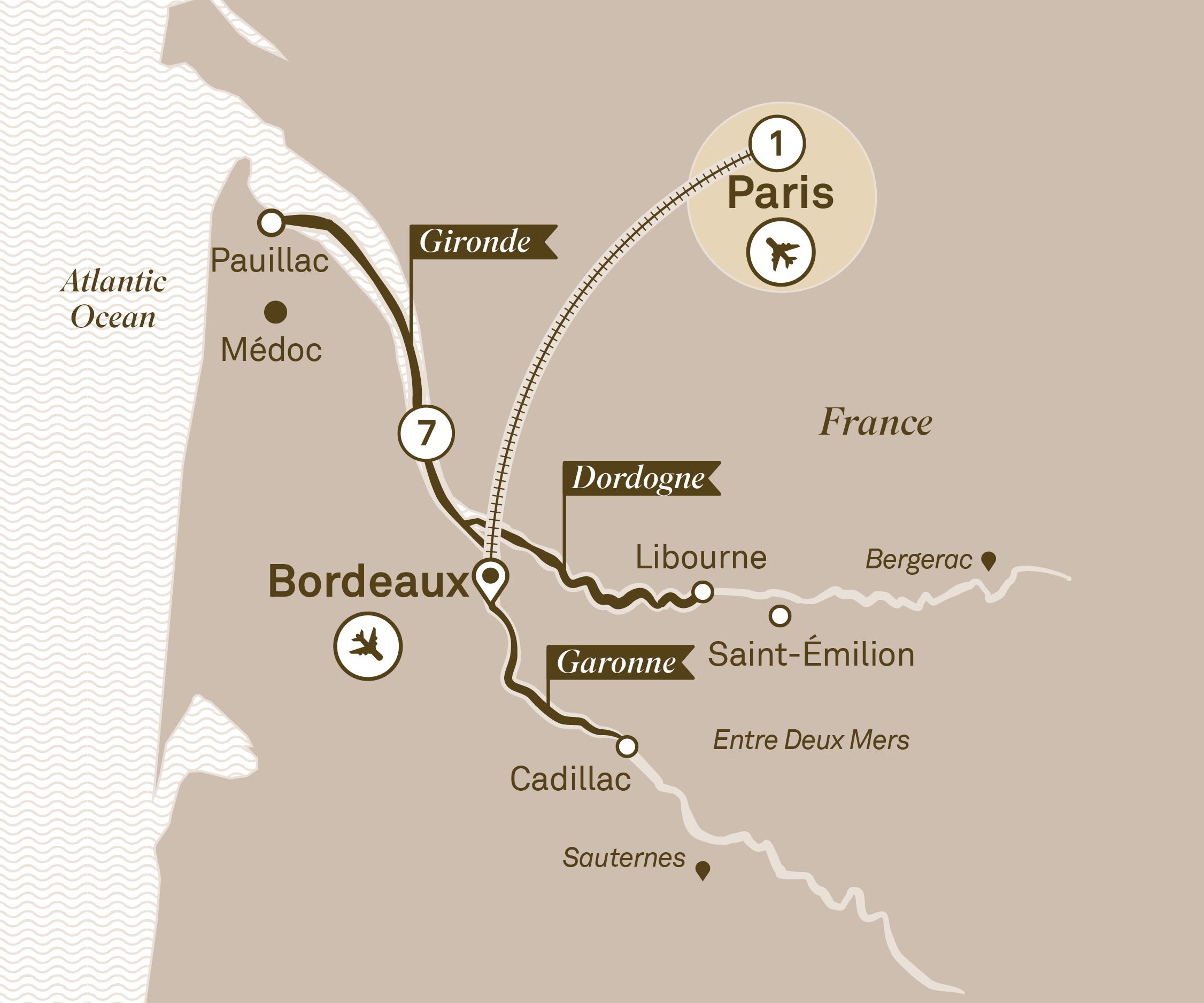 Map for route bordeaux-sojourn