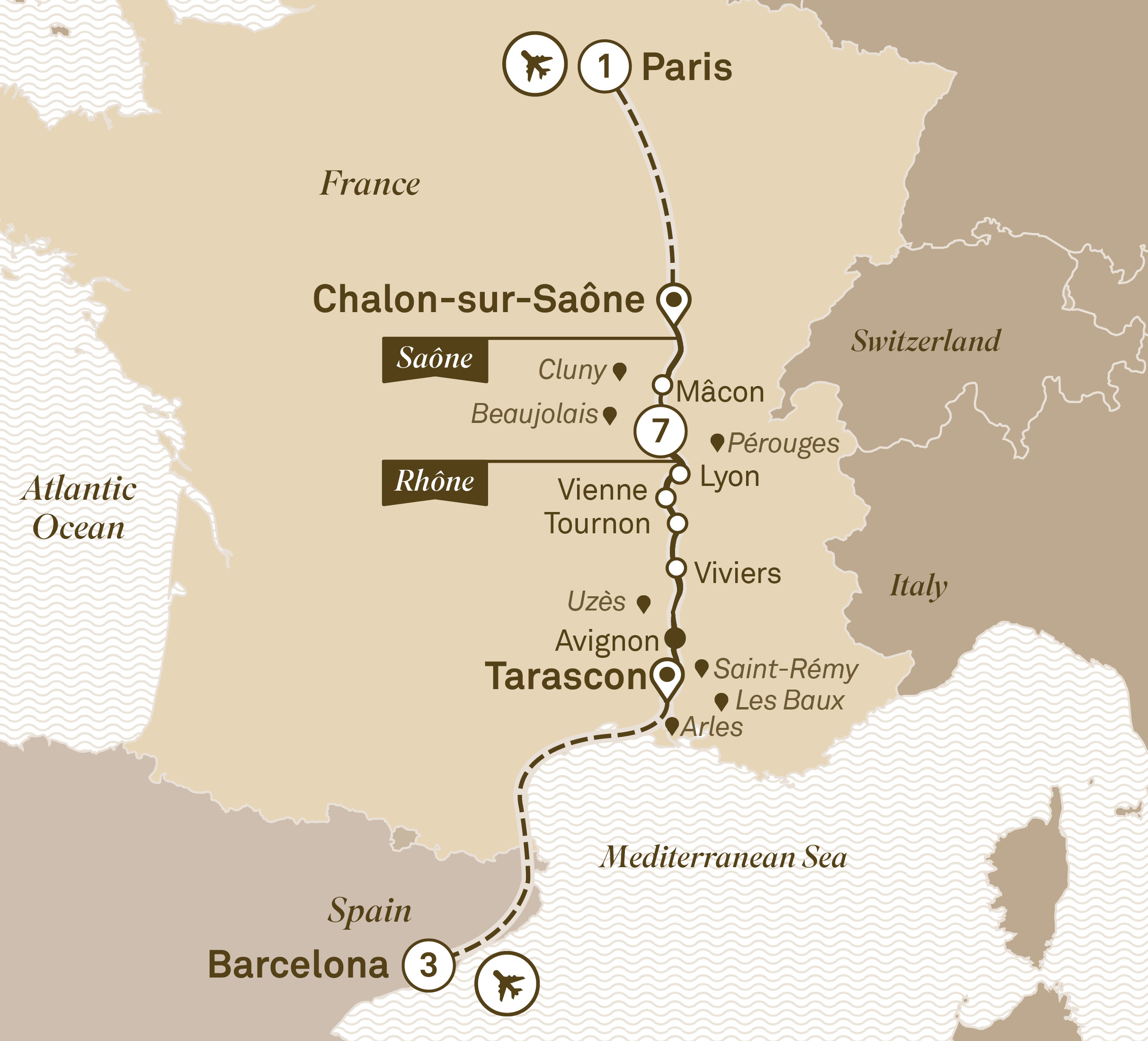 Itinerary map of Enchanting Rhône with Barcelona