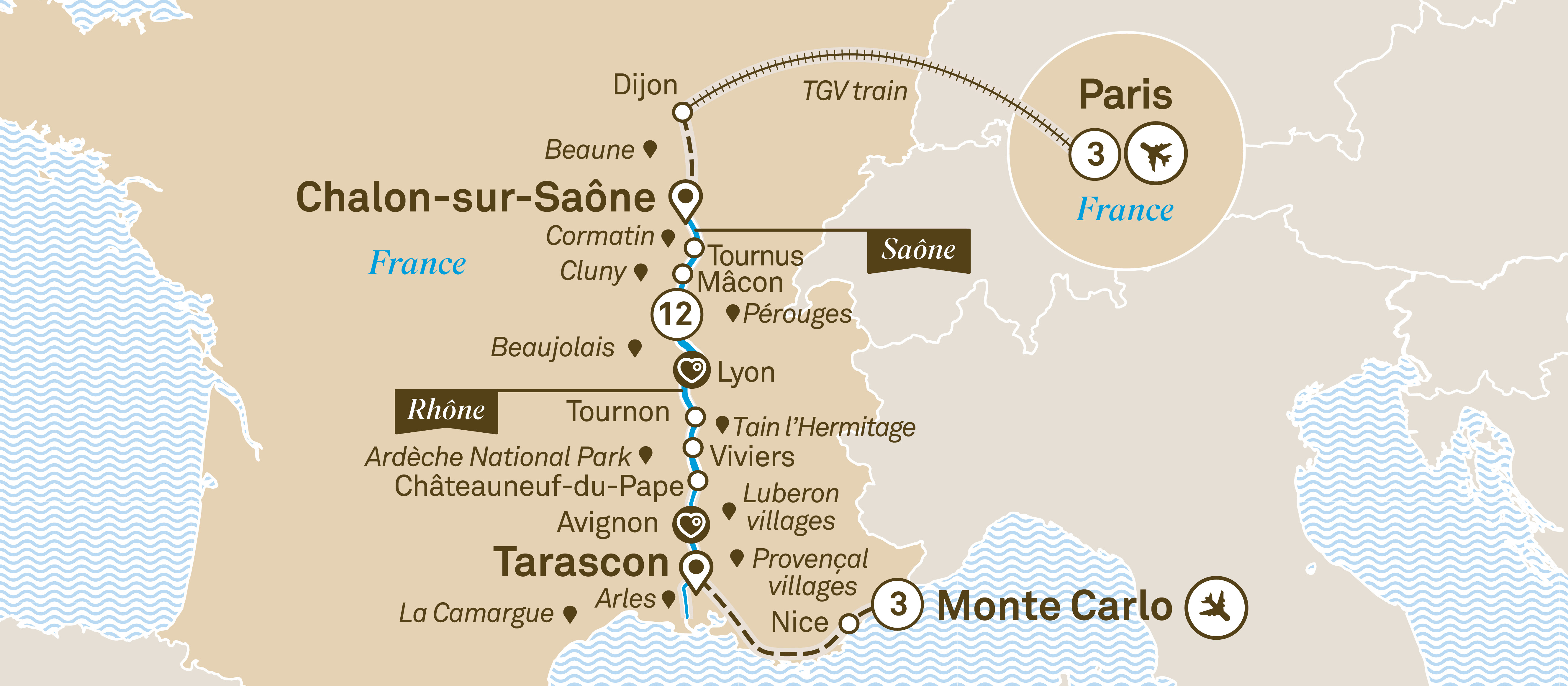 Macon France Map.South Of France With Paris Monte Carlo Scenic Uk