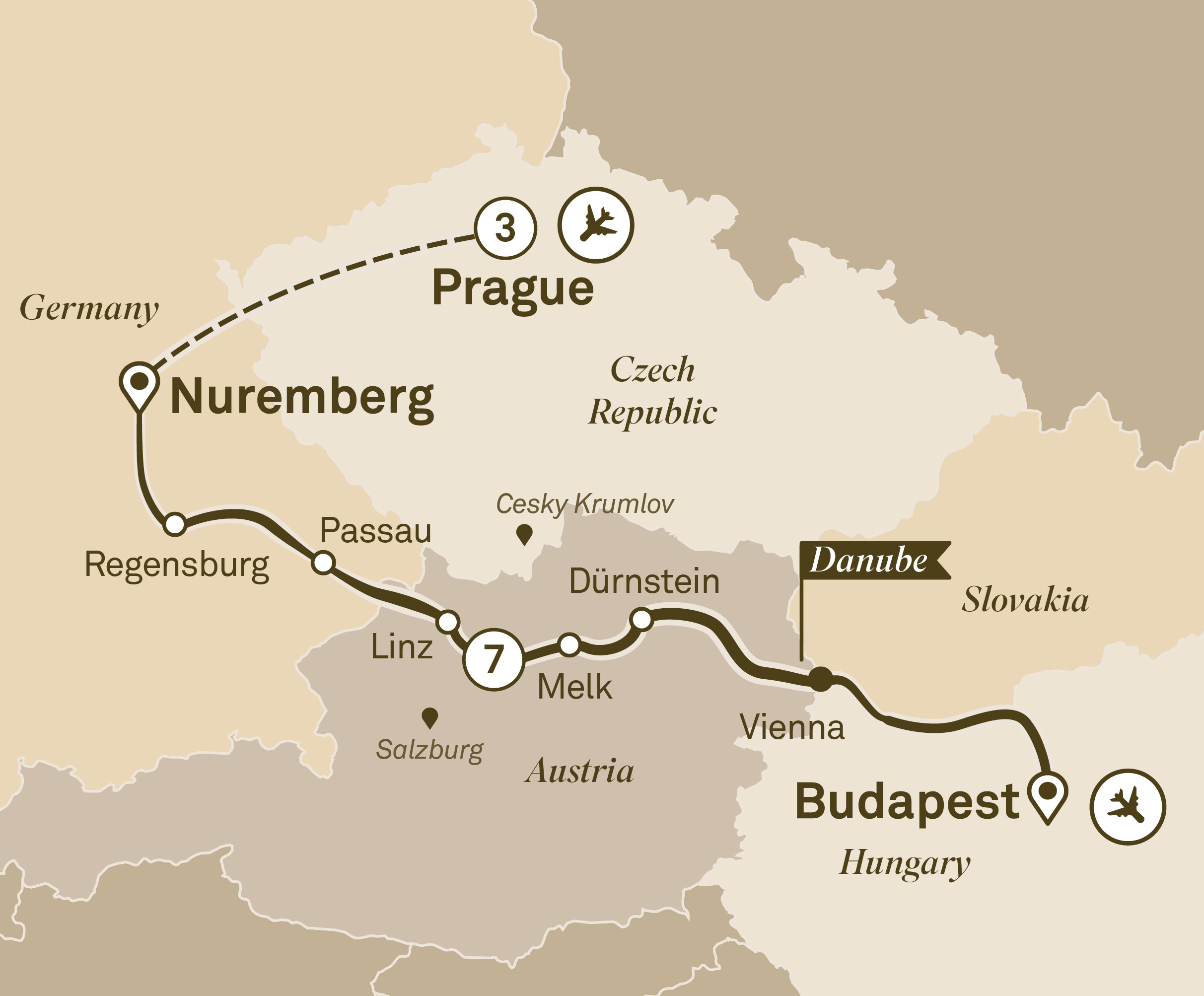 Map for route gems-of-the-danube-with-prague