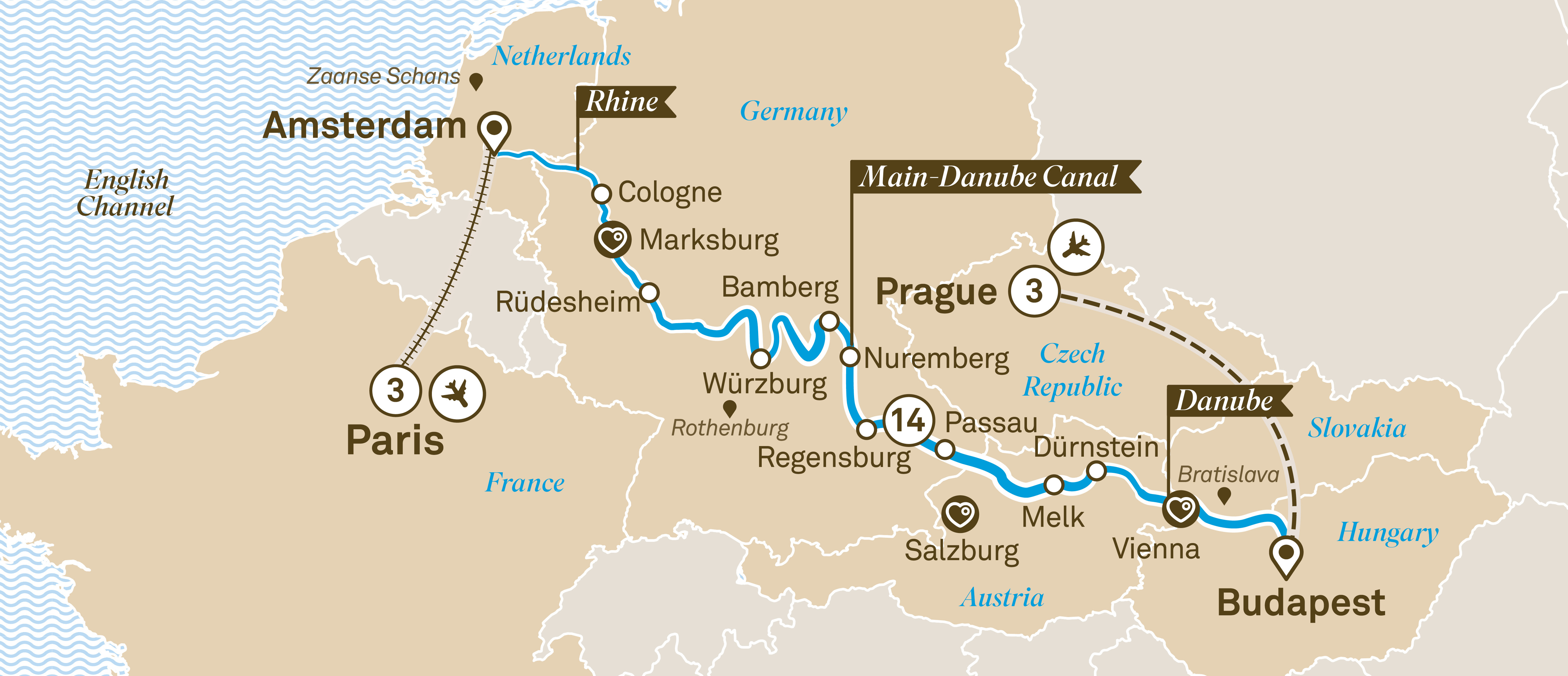 Map for route jewels-of-europe-with-prague-paris