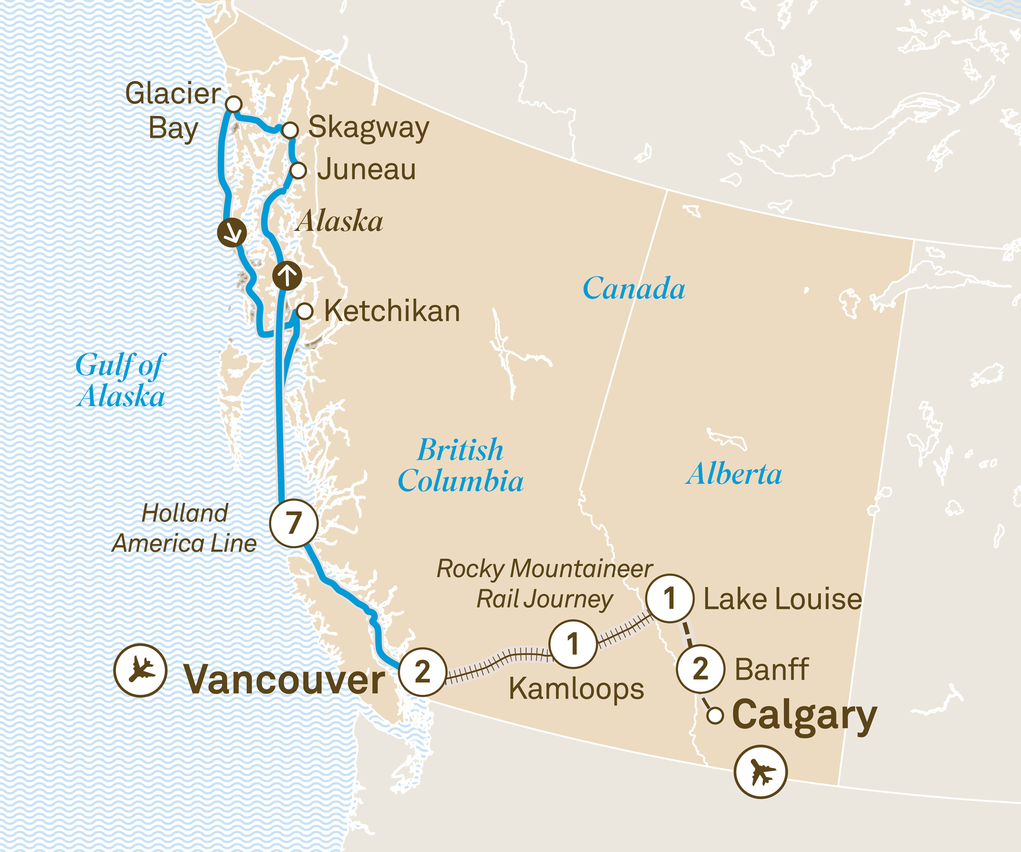 Map for route canadian-castles-alaskan-cruise