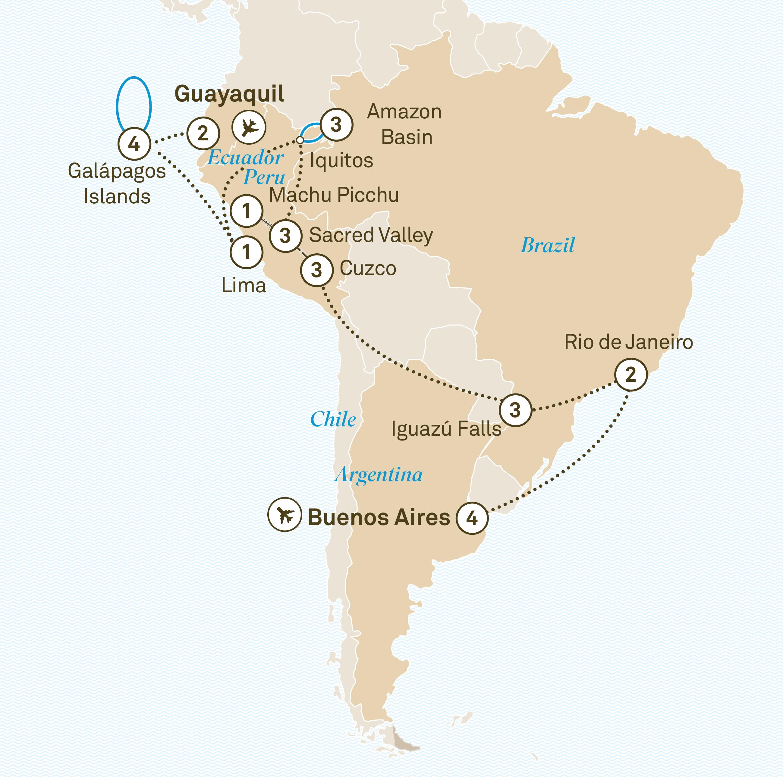 Carte Bordeaux Unesco.South America In Depth Galapagos Amazon