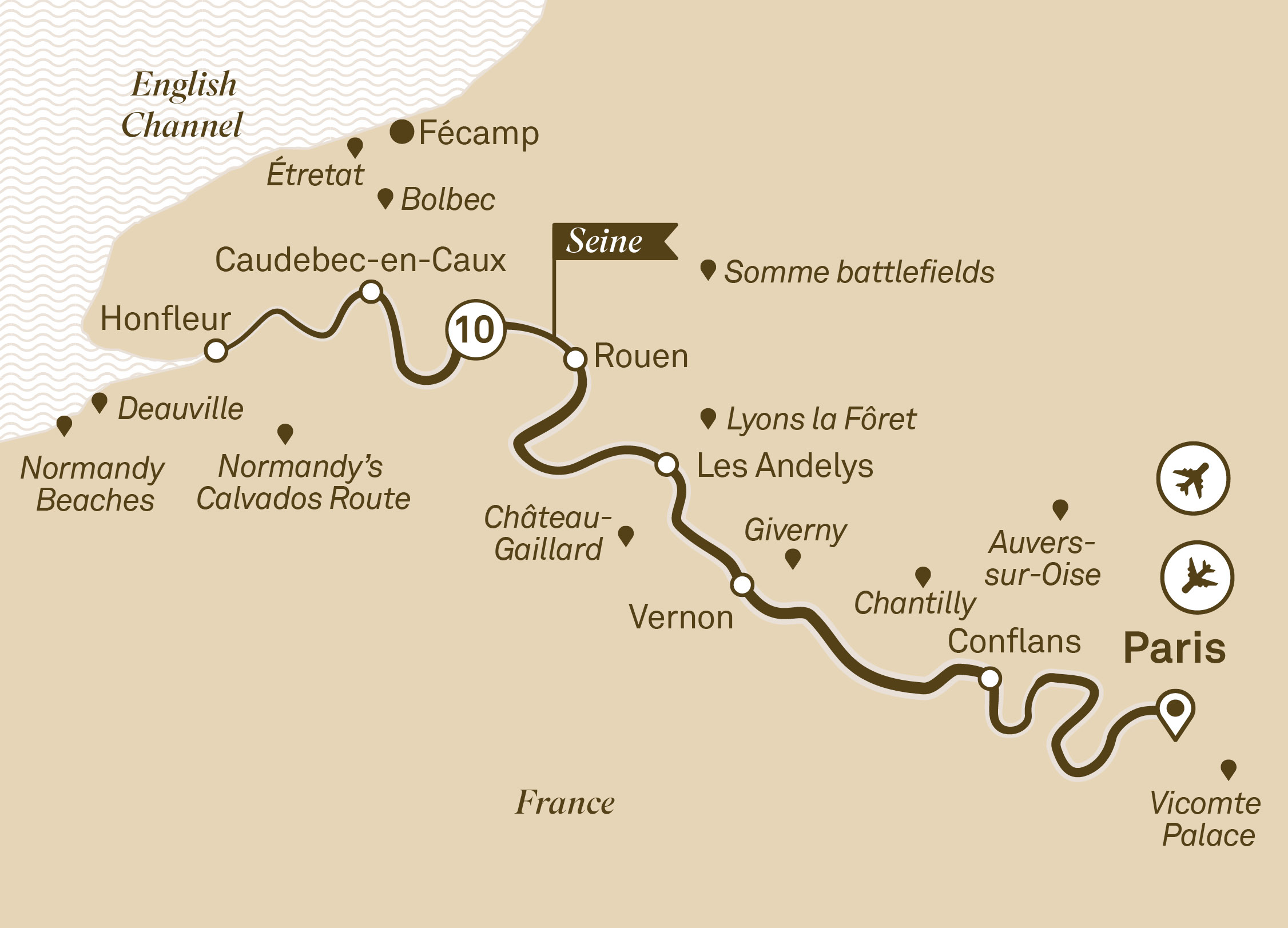 Map for route gems-of-the-seine