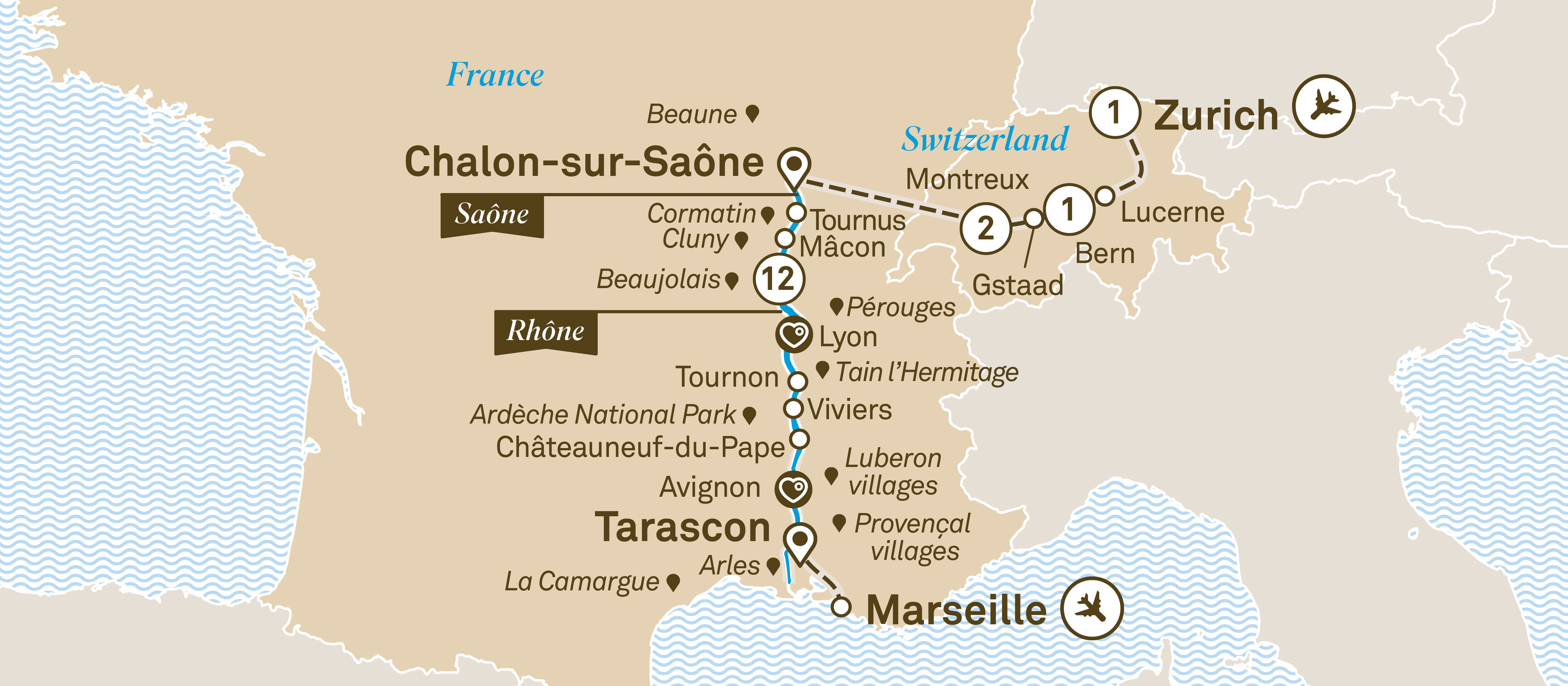 Itinerary map of South of France with Switzerland