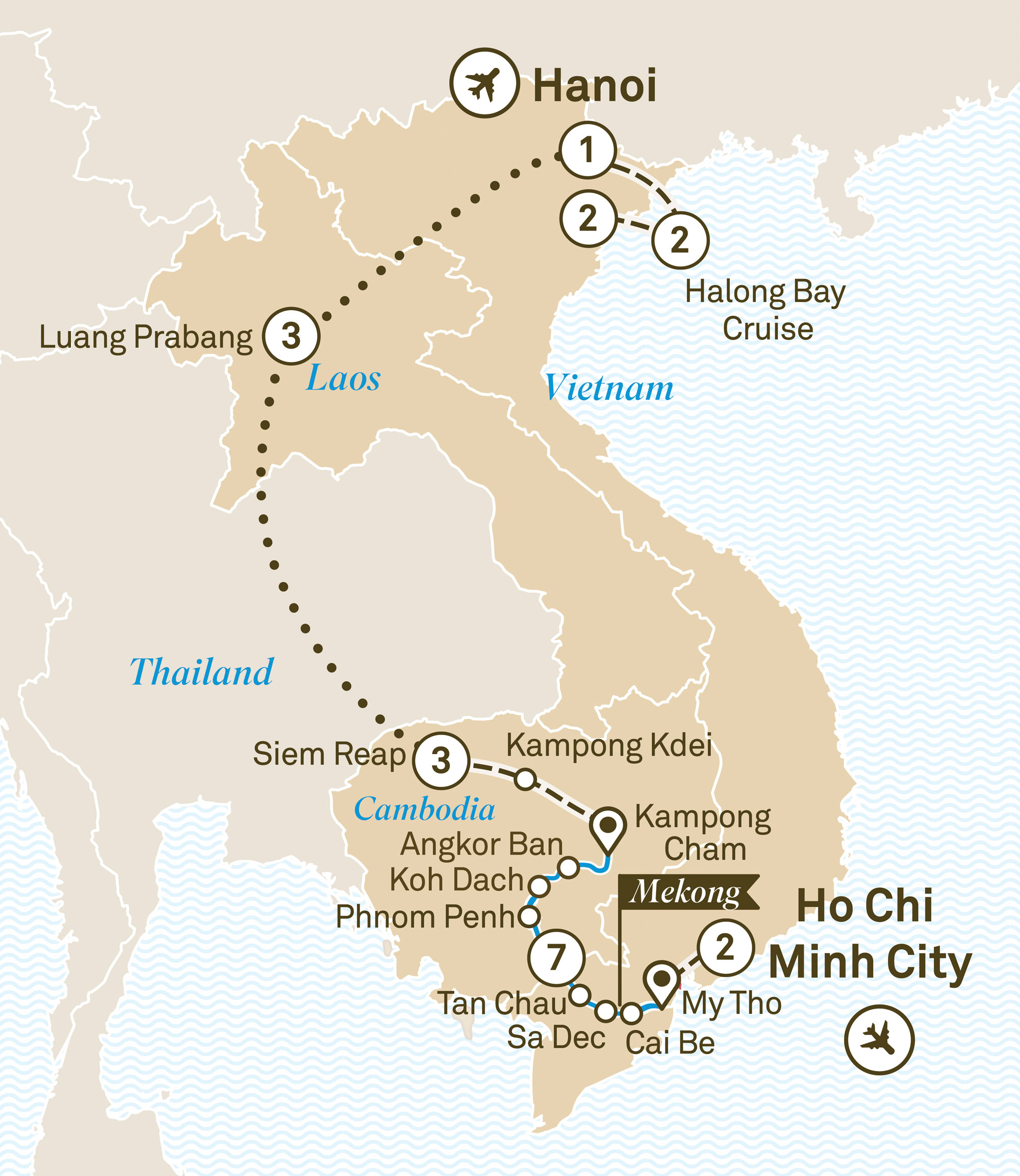 Map for route indochina-explorer-luxury-mekong
