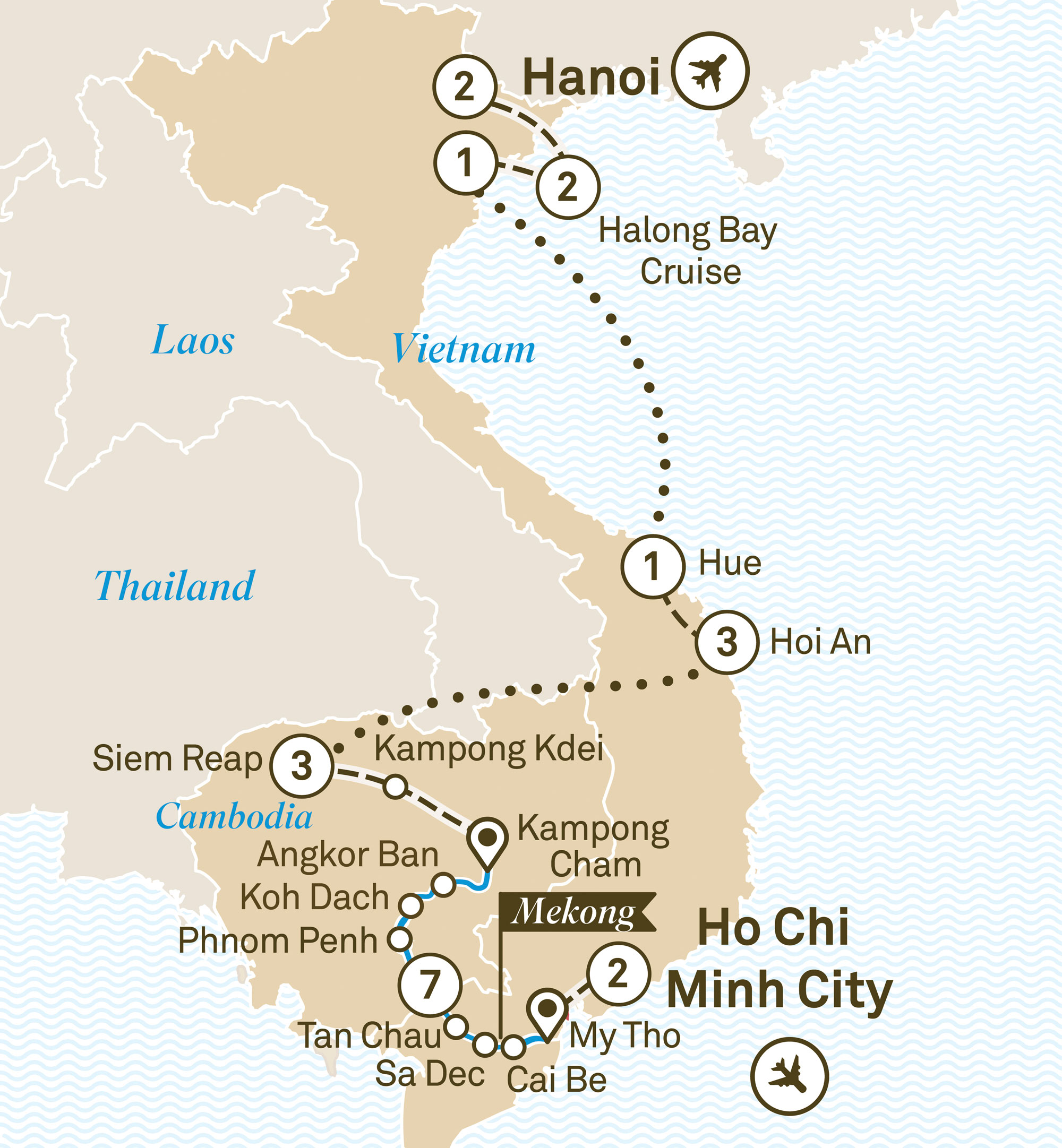 Map for route essence-of-cambodia-vietnam-luxury-mekong