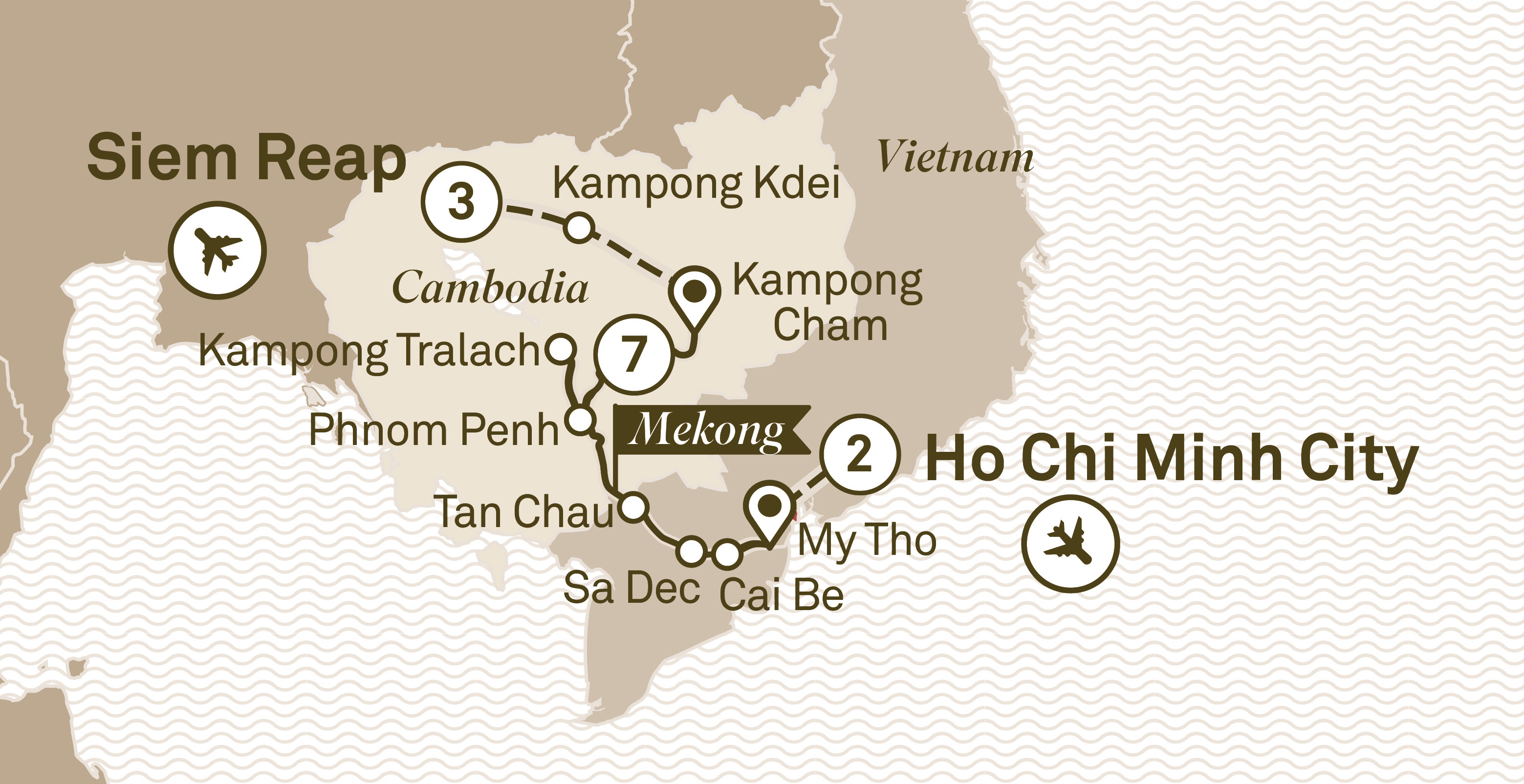 Itinerary map of Treasures of the Mekong